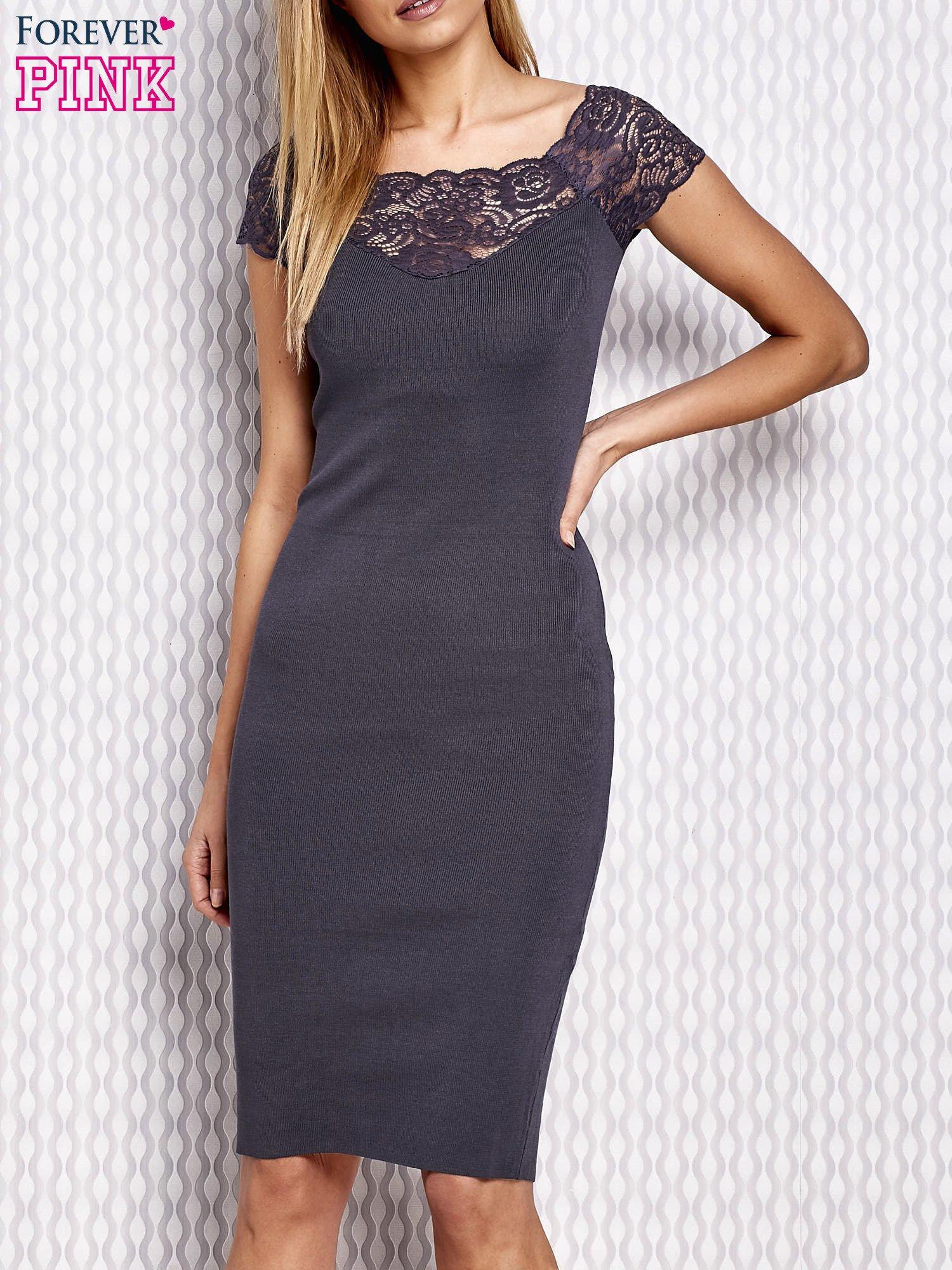 4fdbd72828 Dopasowana sukienka z koronkową wstawką szara - Sukienka wieczorowa ...