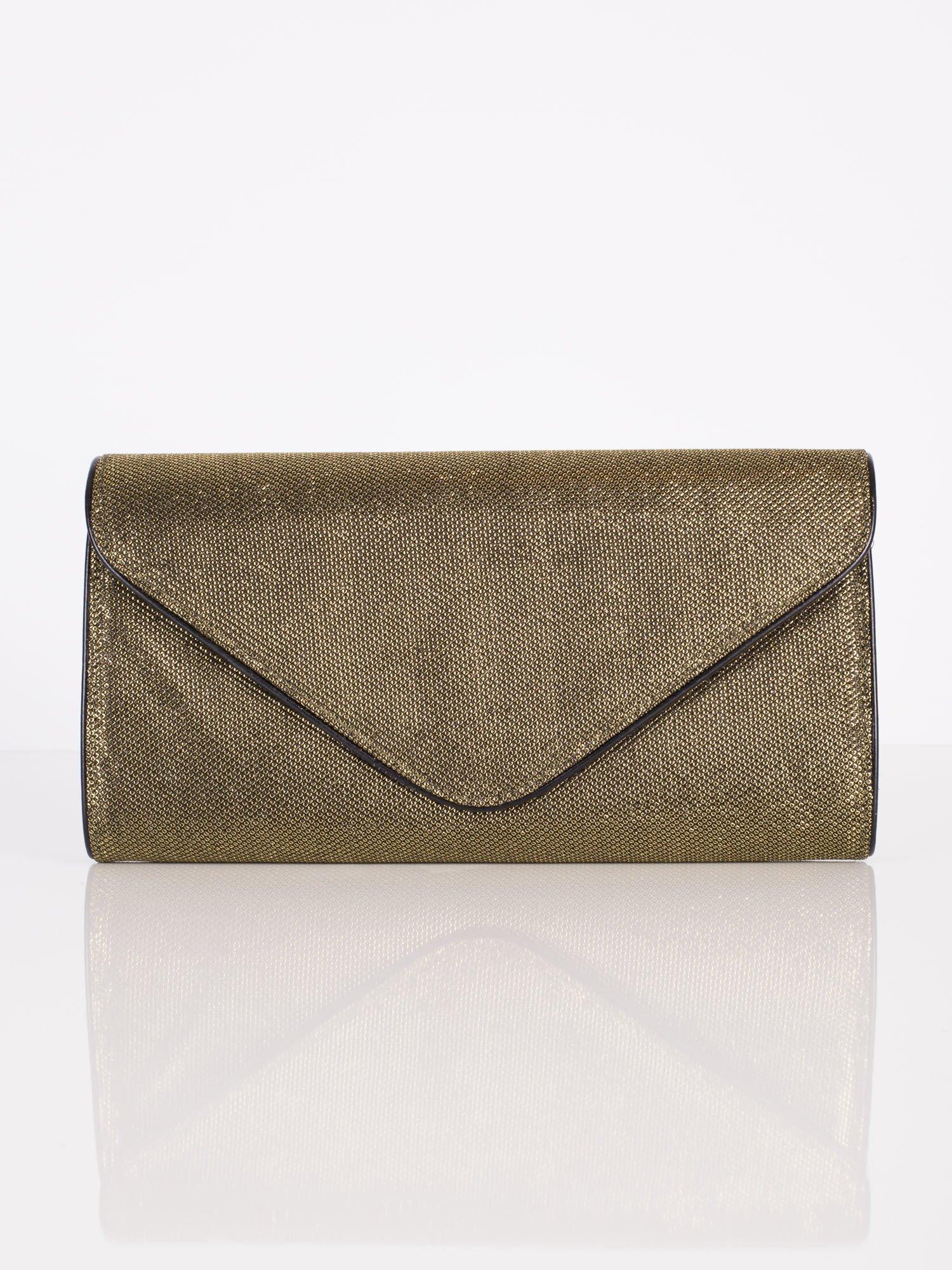 339c405adf56f Duża błyszcząca kopertówka z lamówką czarno-złota - Akcesoria torba ...