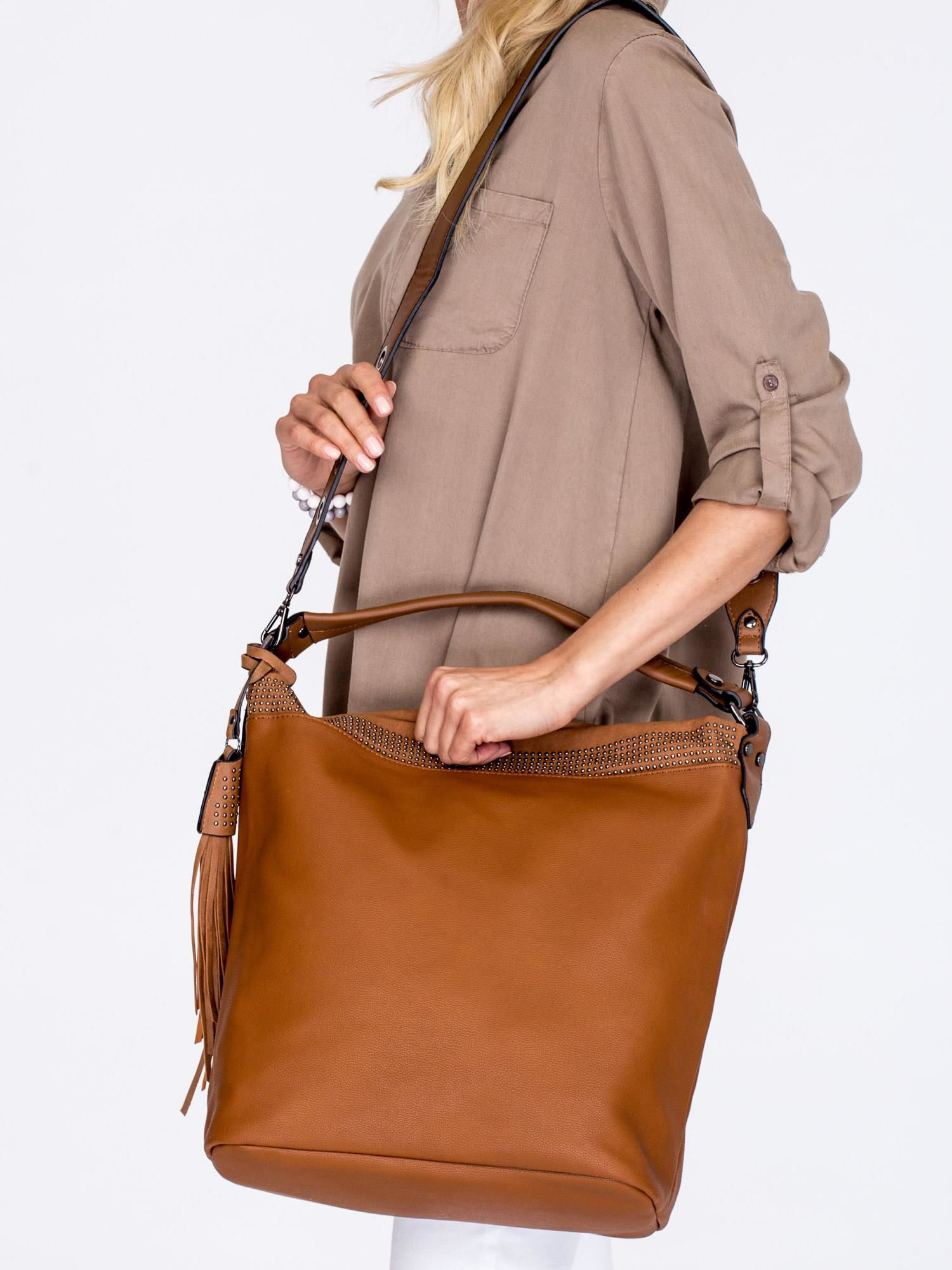 c4de2b255d098 Duża brązowa torba z ozdobnym paskiem - Akcesoria torba - sklep ...