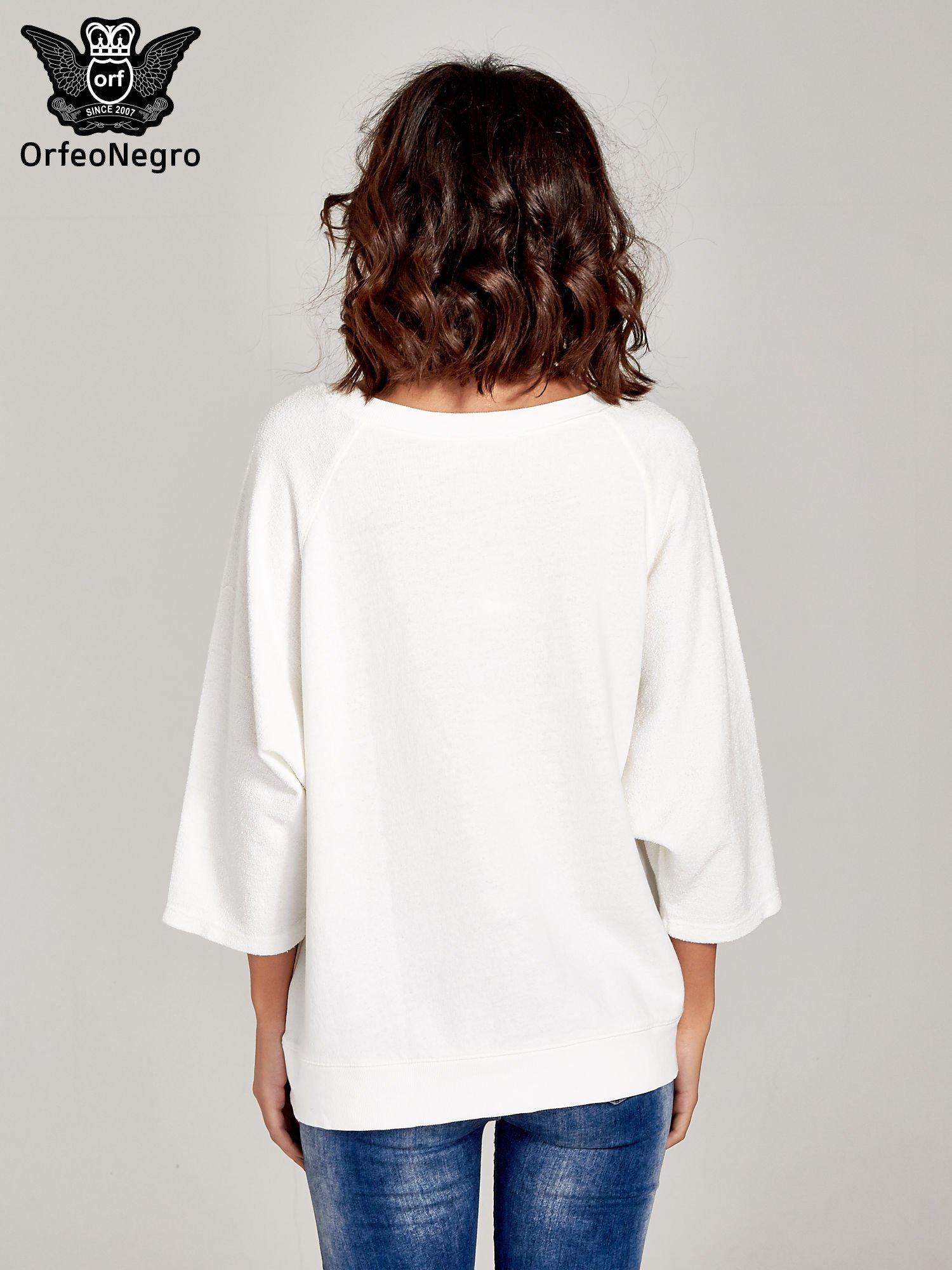Ecru bluza oversize z łączonych materiałów                                  zdj.                                  2