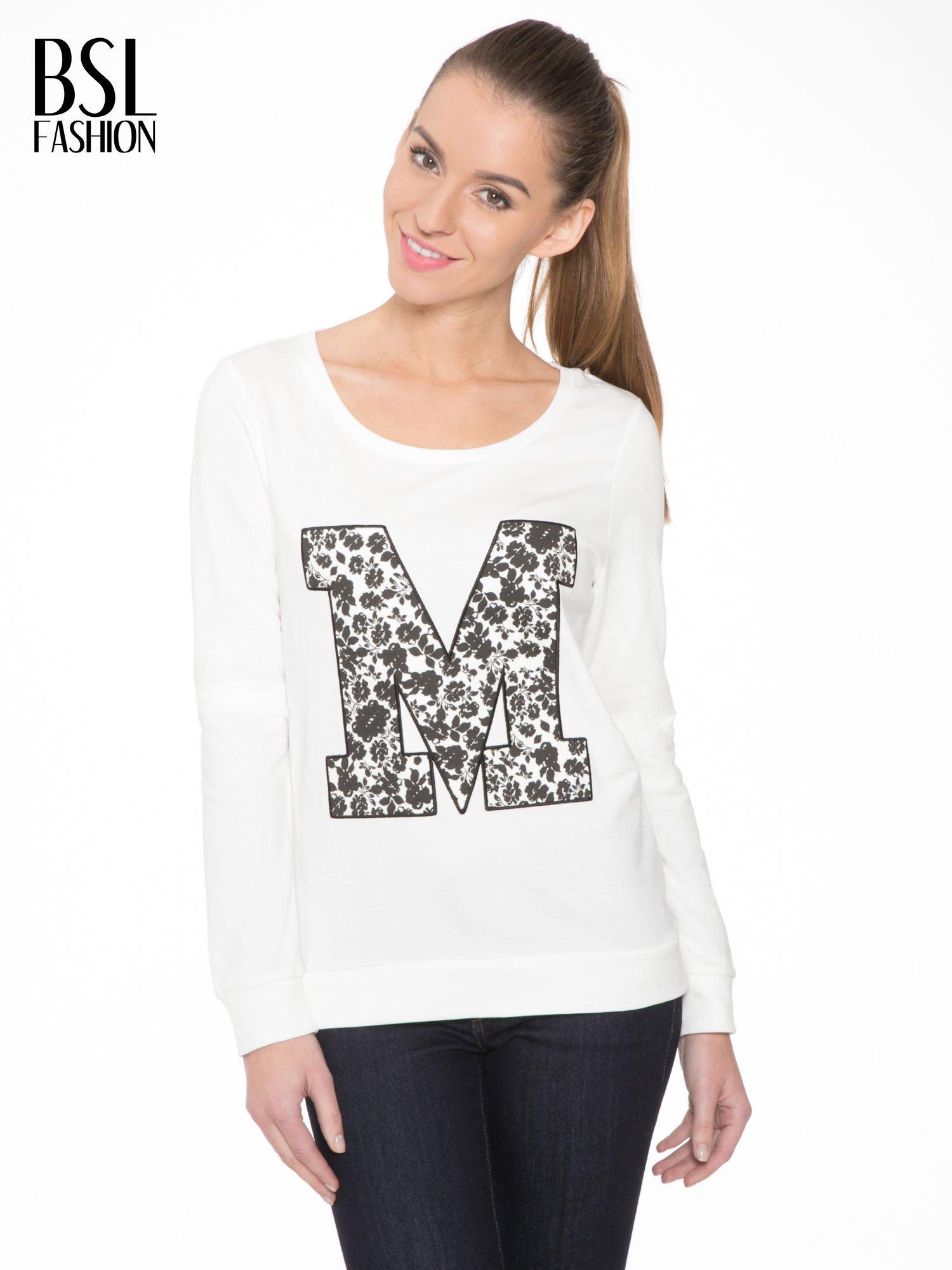 Ecru bluza z kwiatowym nadrukiem litery M                                  zdj.                                  1
