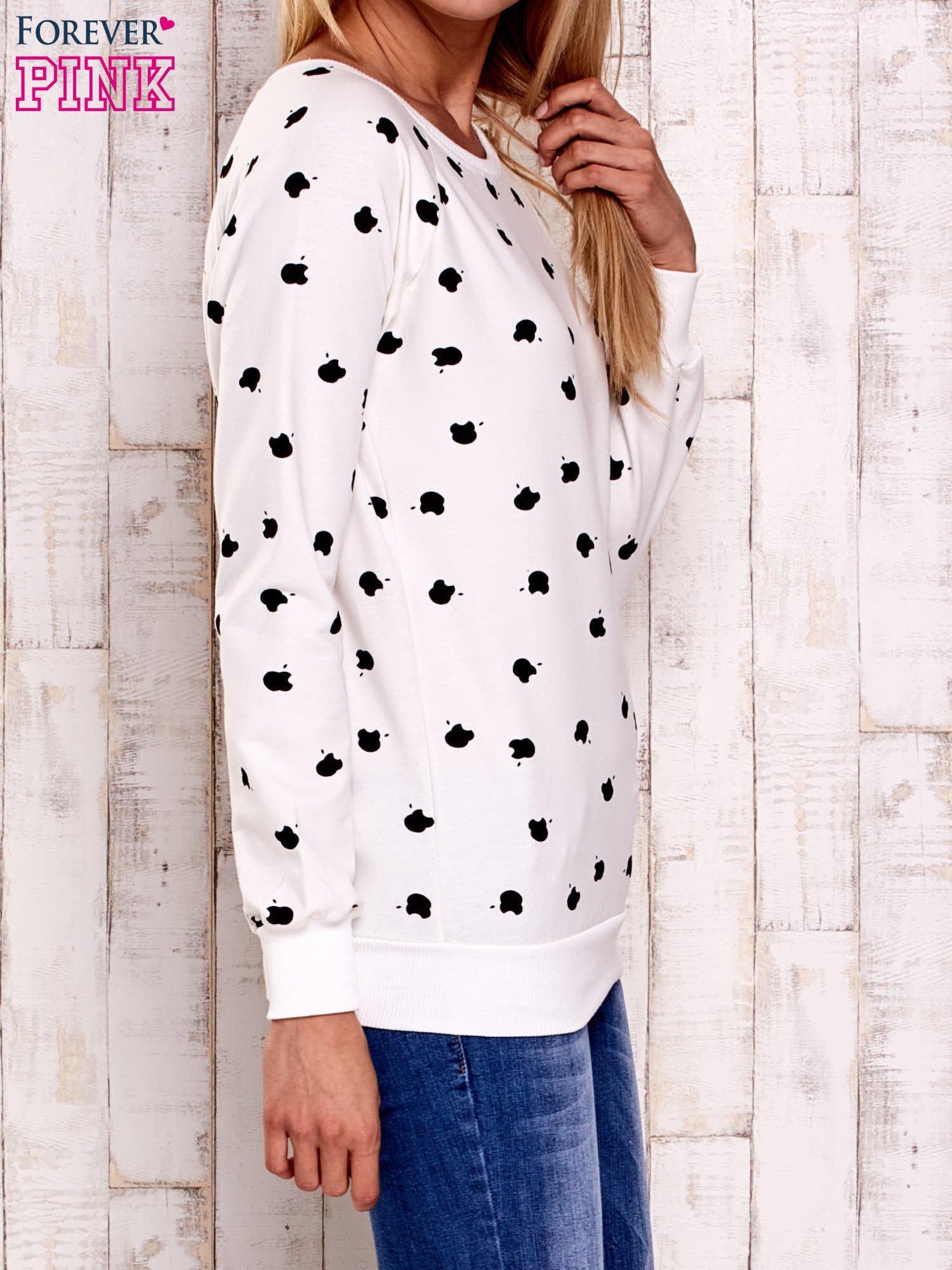Ecru bluza z nadrukiem jabłuszka                                  zdj.                                  4