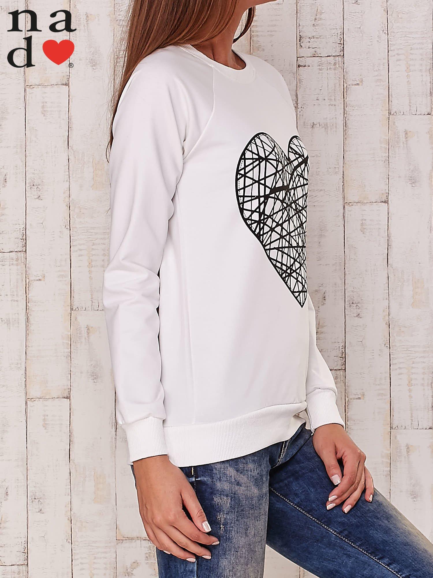 Ecru bluza z nadrukiem serca                                  zdj.                                  3