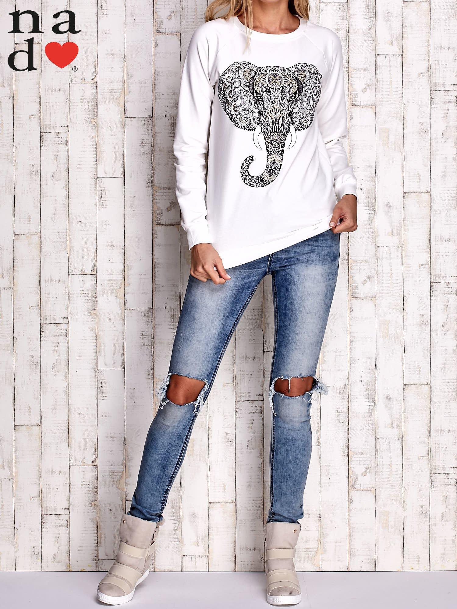 Ecru bluza z nadrukiem słonia                                  zdj.                                  4
