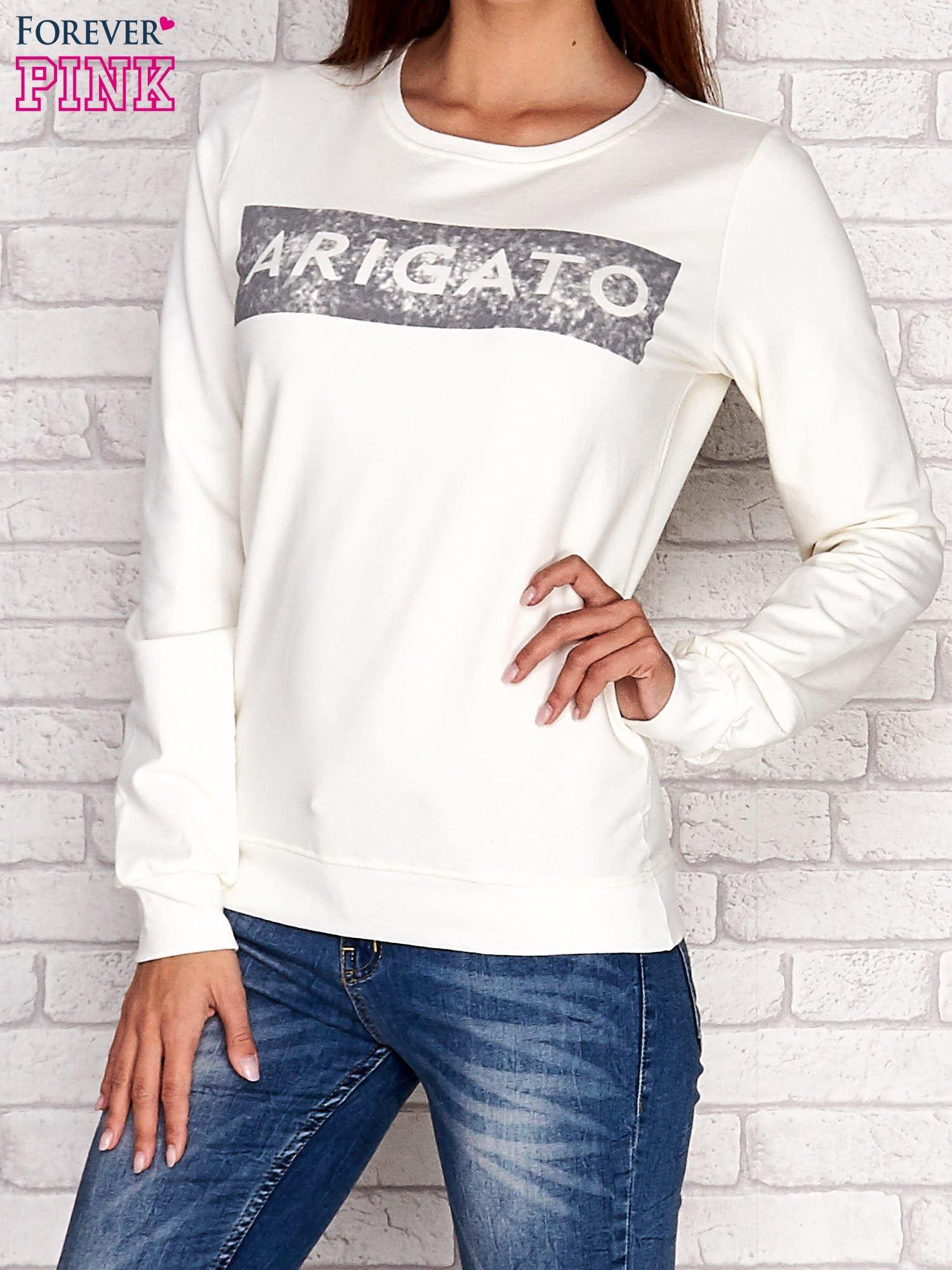 Ecru bluza z napisem ARIGATO                                  zdj.                                  1