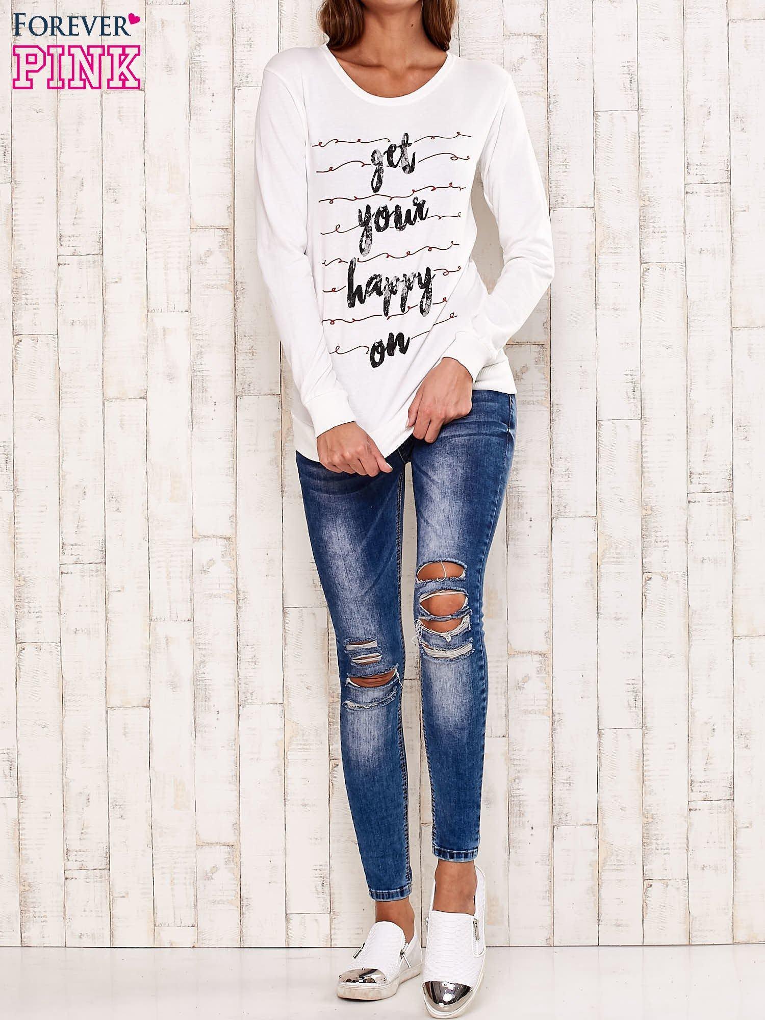 Ecru bluza z napisem GET YOUR HAPPY ON                                  zdj.                                  2