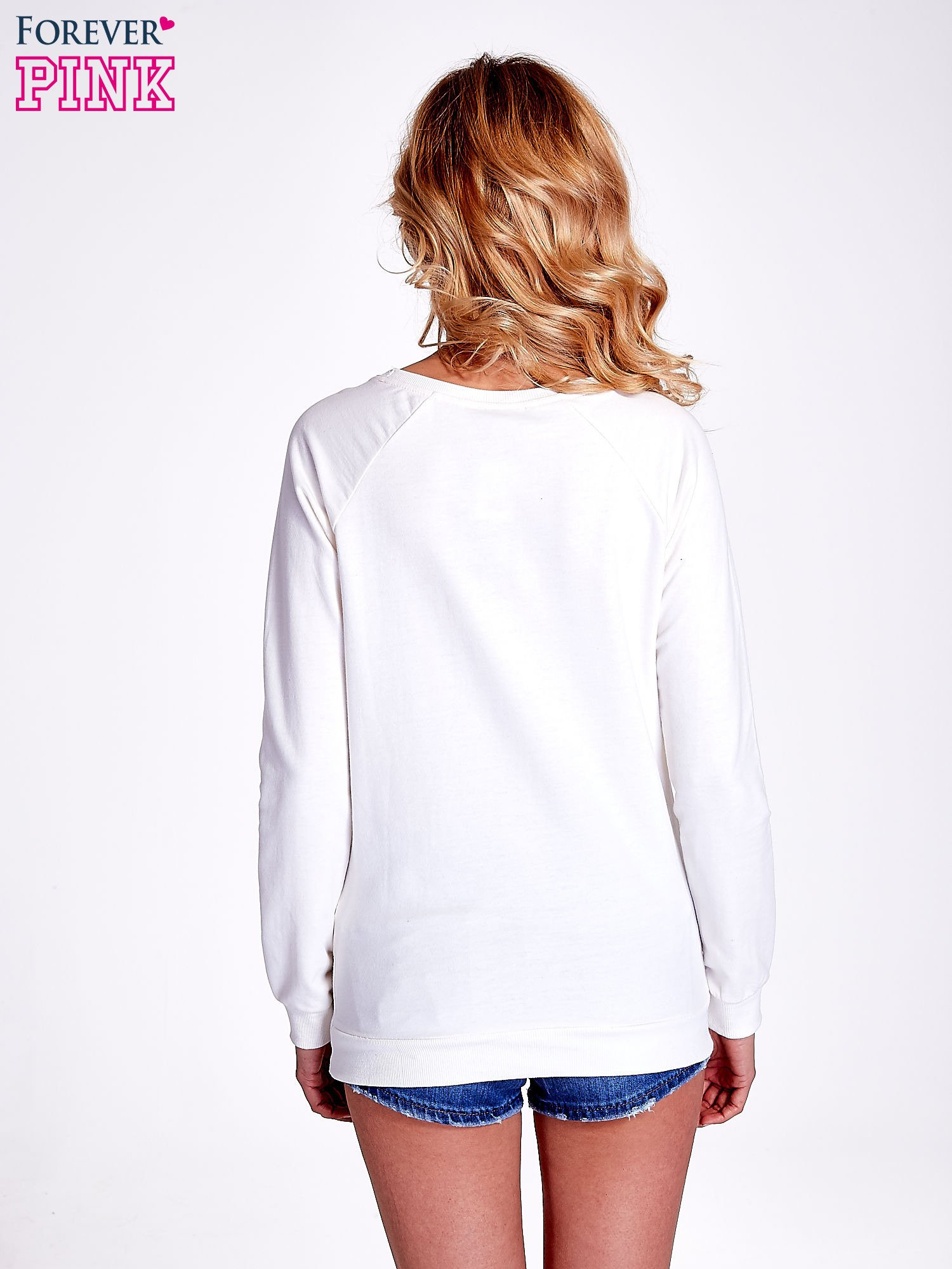 Ecru bluza z napisem I AM FREAKING COLD                                  zdj.                                  4