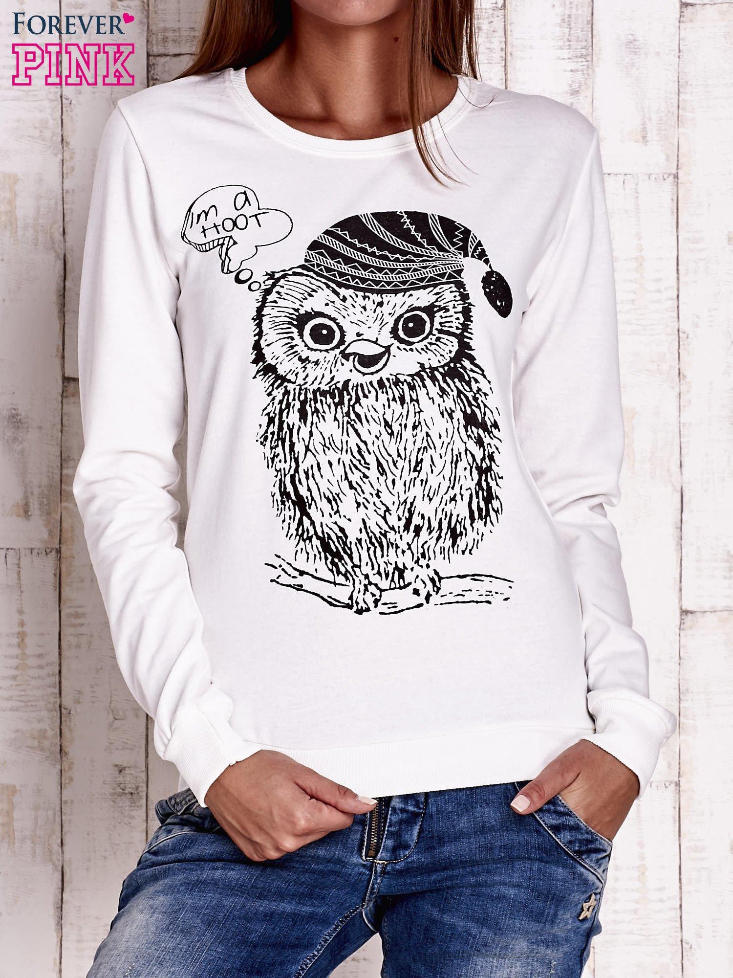 Ecru bluza ze zwierzęcym nadrukiem                                  zdj.                                  1