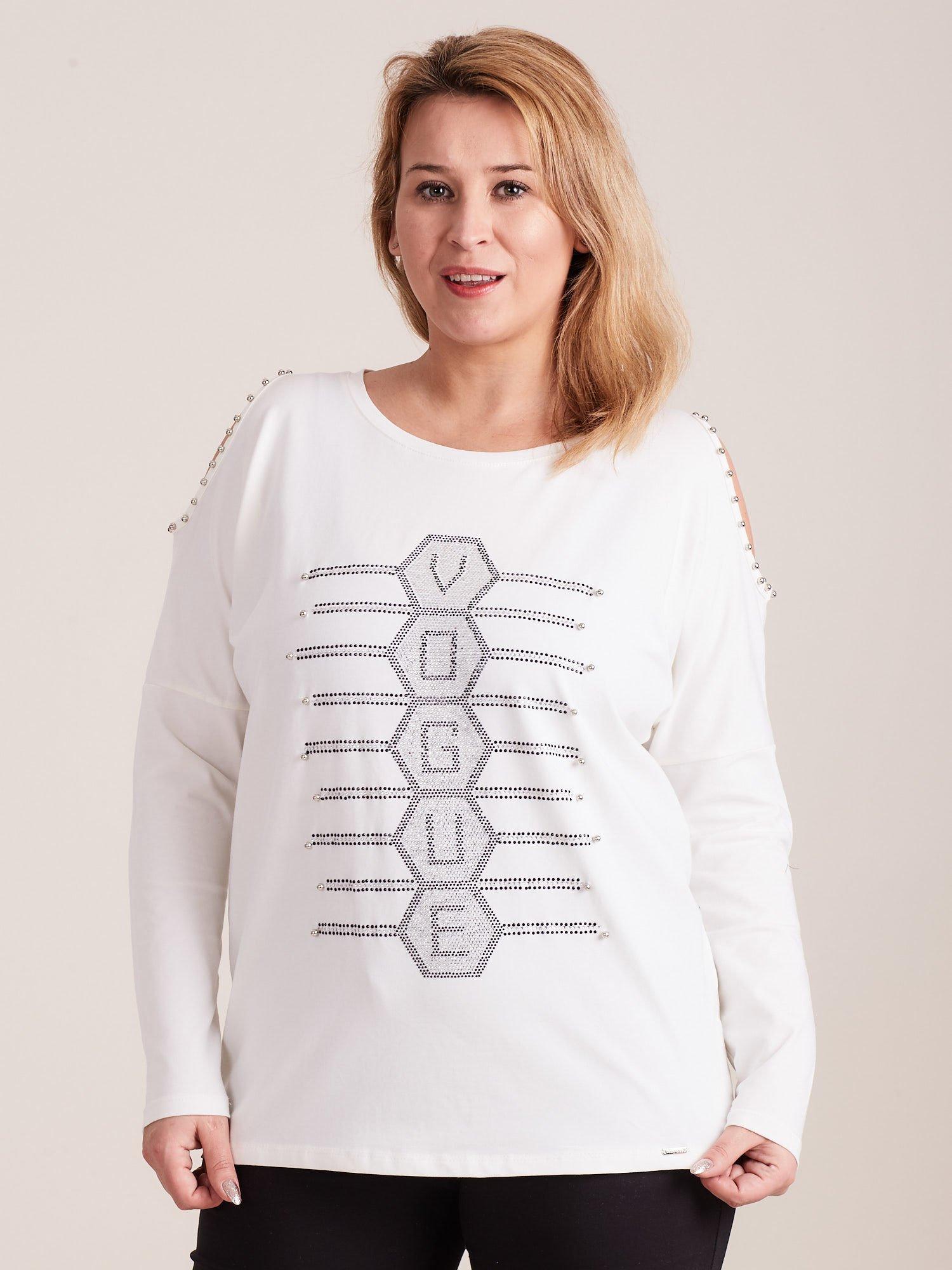 c1f4004a4a0493 Ecru bluzka cold shoulder z aplikacją PLUS SIZE - Bluzka plus size ...