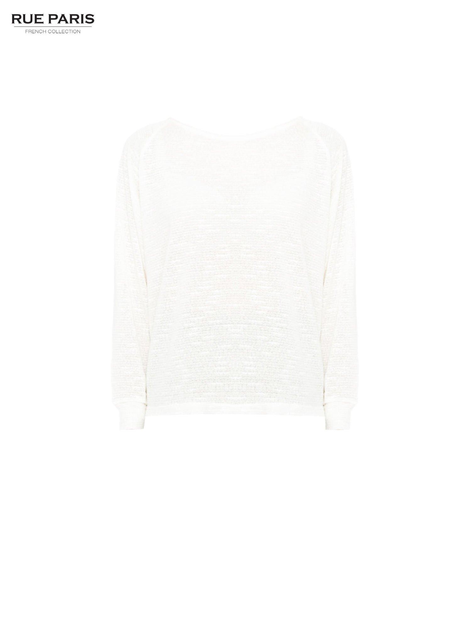 Ecru bluzka oversize z nietoperzowymi rękawami                                  zdj.                                  5
