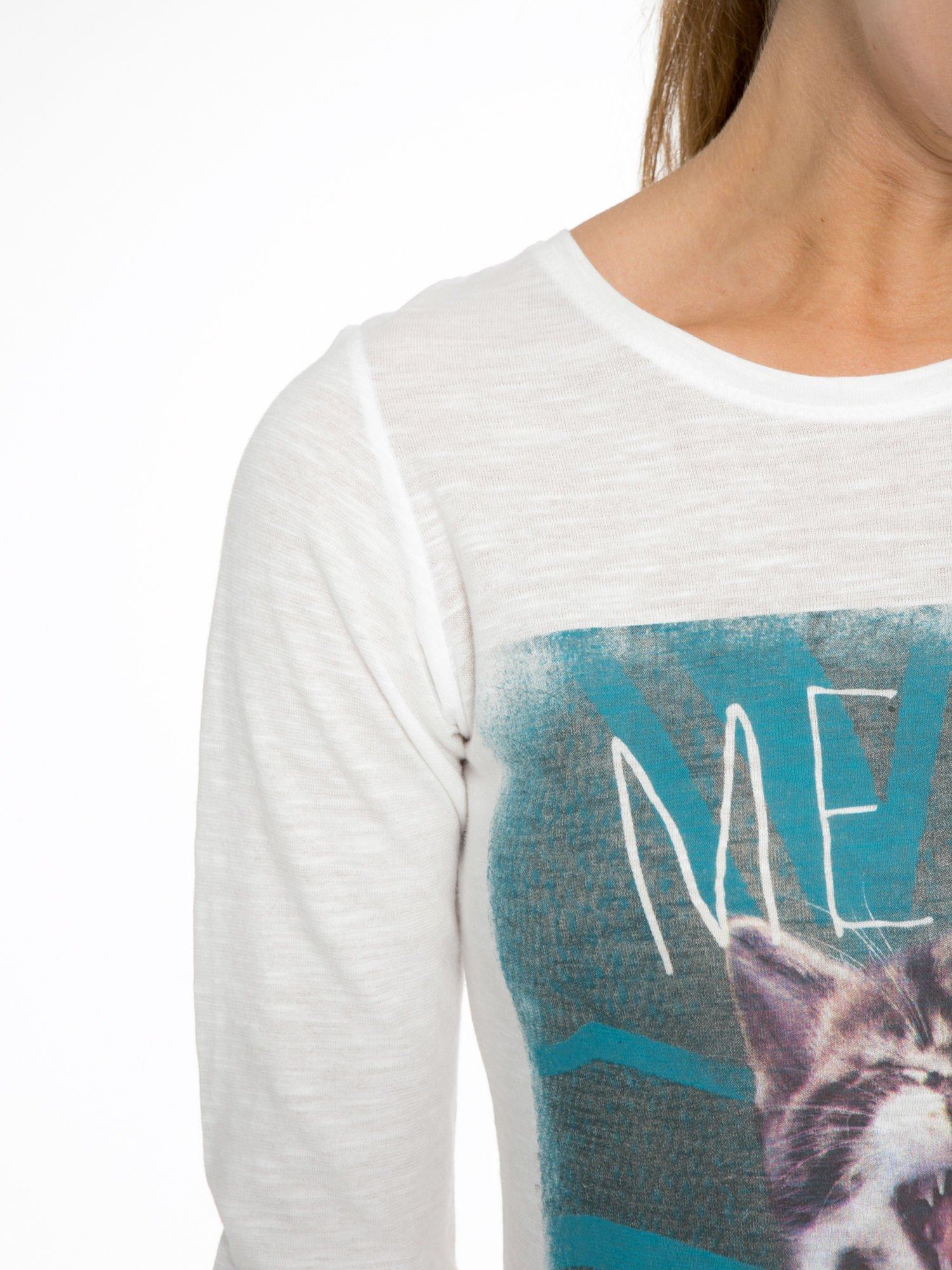 Ecru bluzka z nadrukiem kotka i napisem MEOW                                  zdj.                                  8