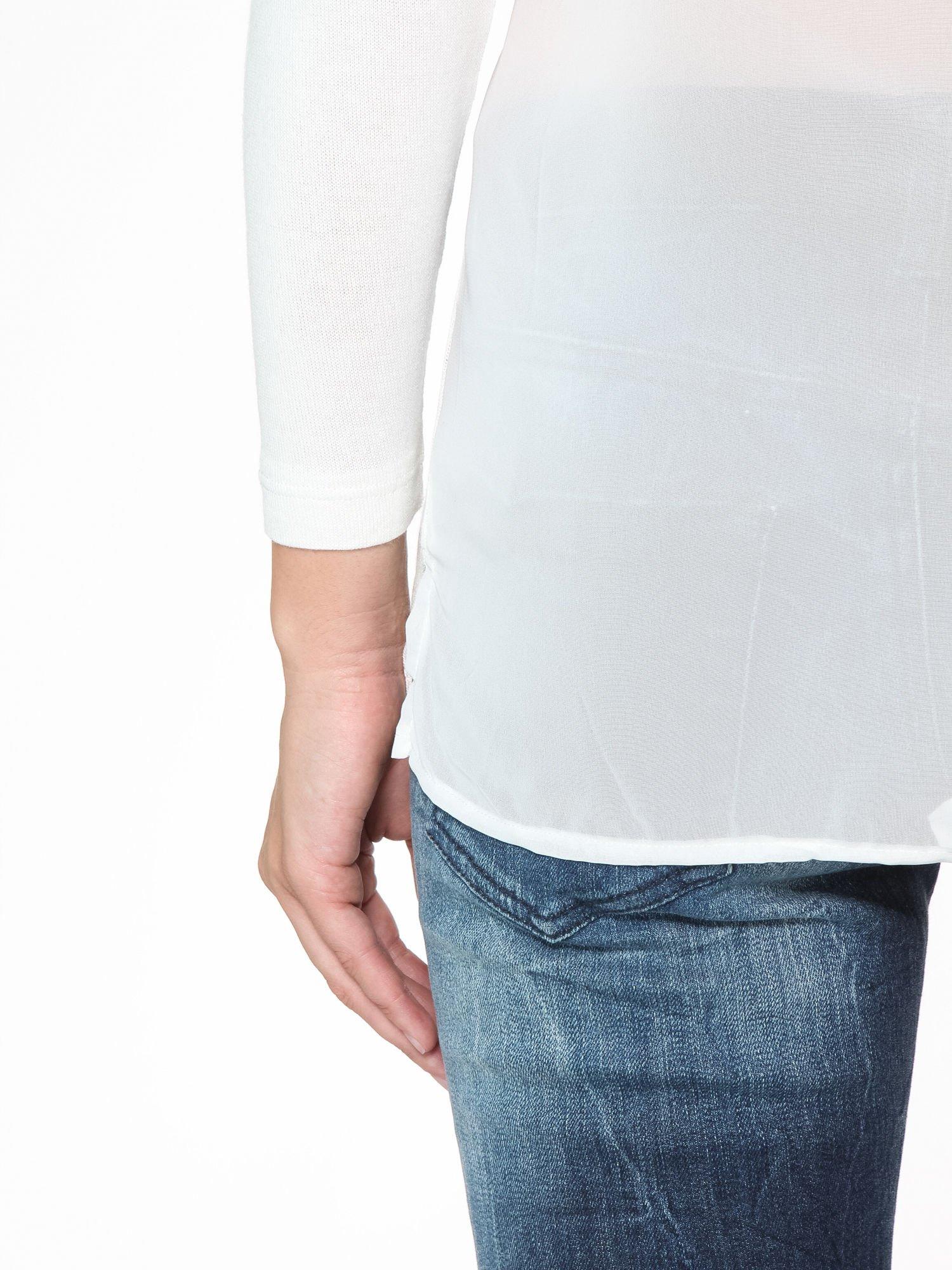 Ecru bluzka z tyłem mgiełką i z ozdobnym wiązaniem                                  zdj.                                  11