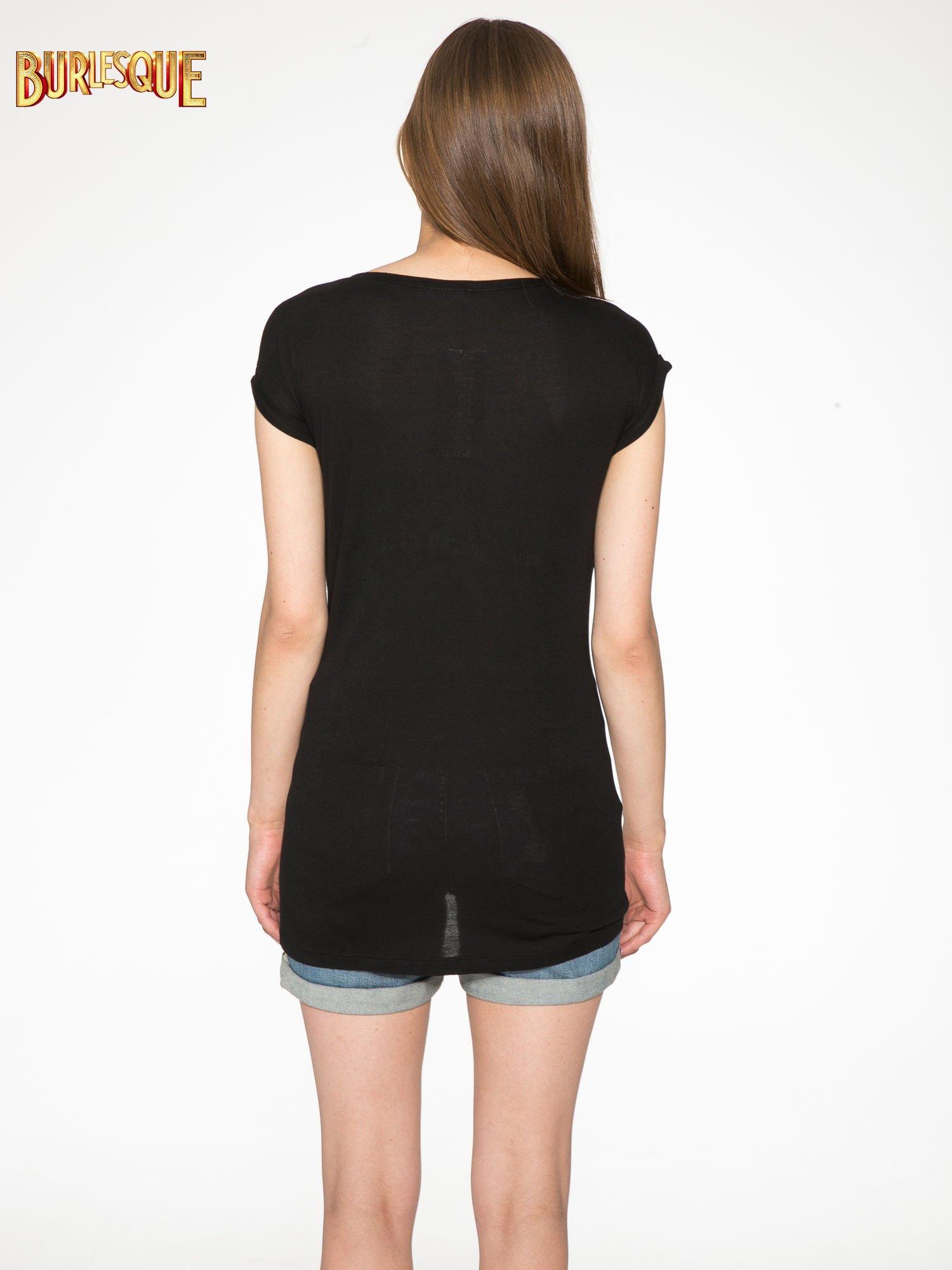 Ecru-czarny t-shirt z nadrukiem piórek zdobionych dżetami                                  zdj.                                  10
