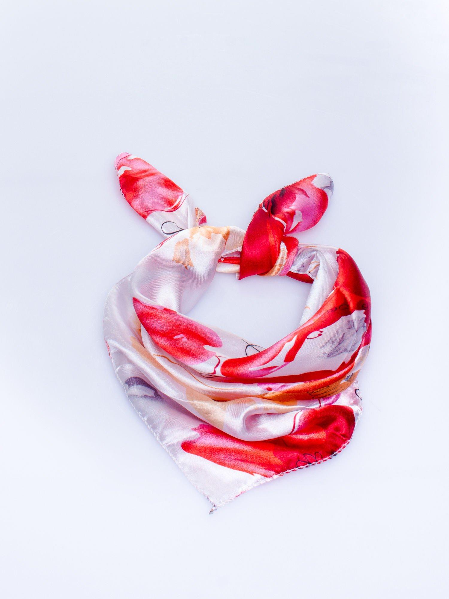 Ecru-czerwona chusta apaszka z roślinnym ornamentem                                  zdj.                                  1