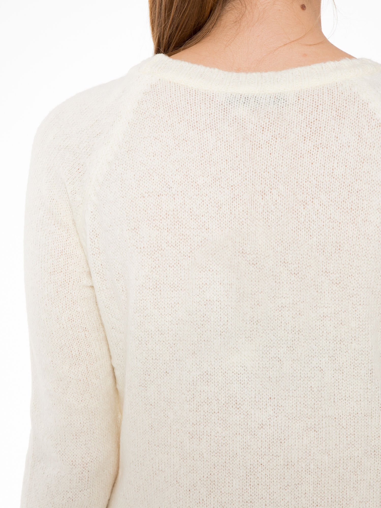 Ecru długi sweter z nadrukiem gwiazdy                                  zdj.                                  7