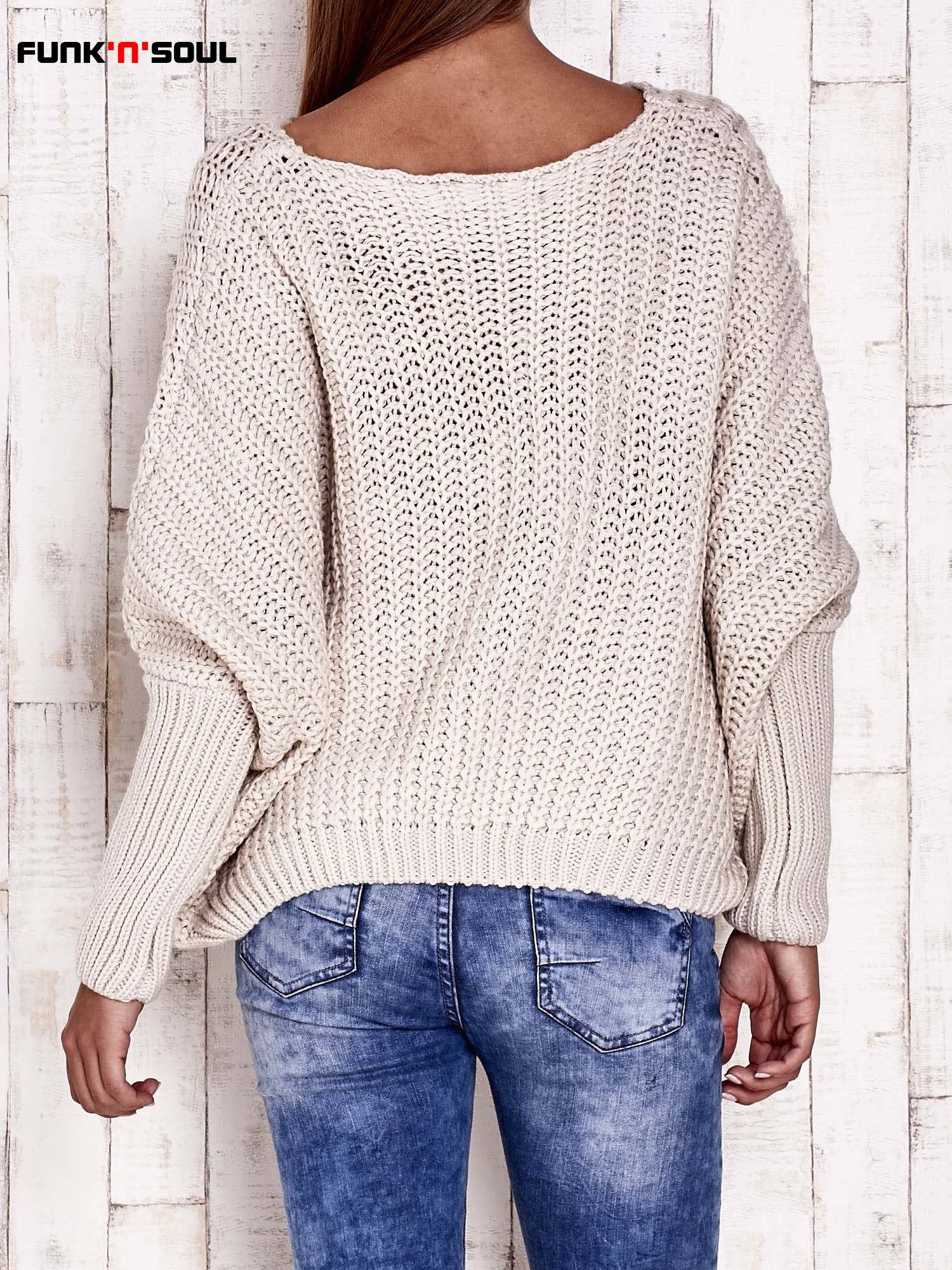 Ecru dziergany sweter oversize FUNK N SOUL                                  zdj.                                  5