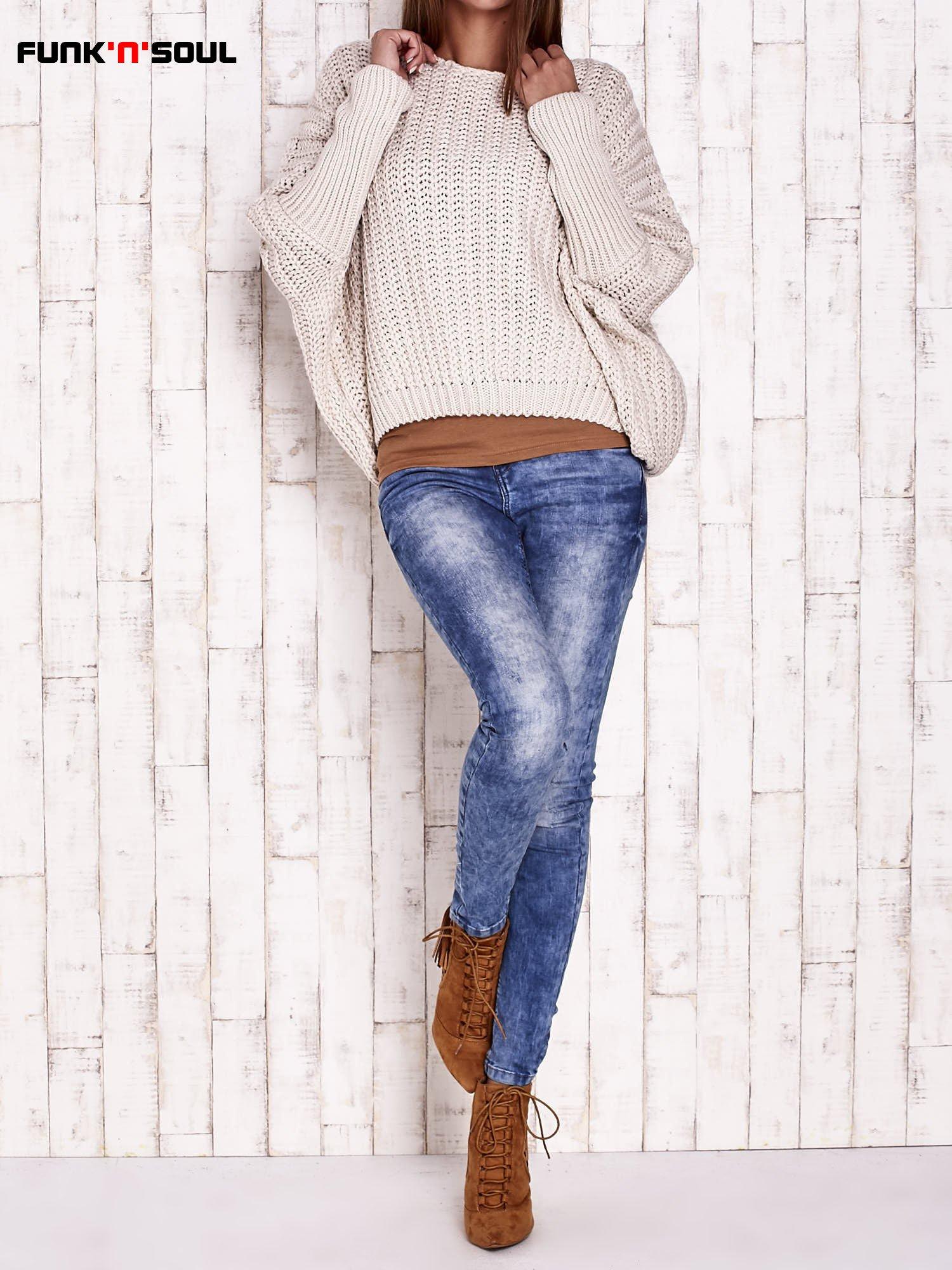 Ecru dziergany sweter oversize FUNK N SOUL                                  zdj.                                  3