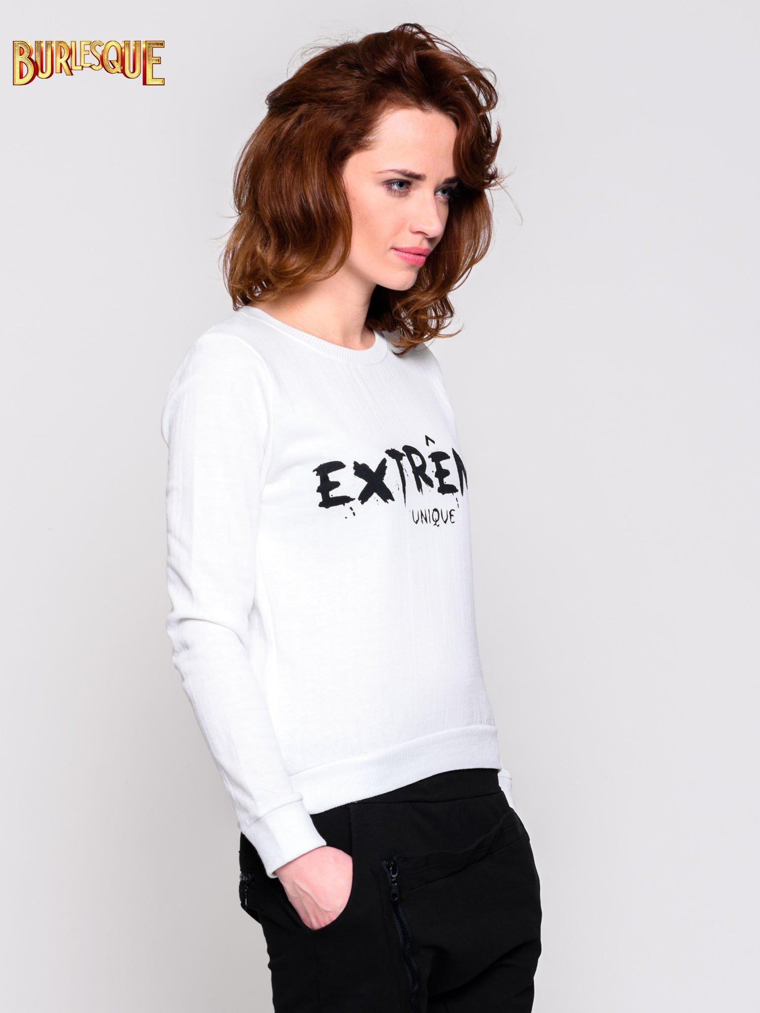 Ecru klasyczna bluza damska z napisem EXTRÉME UNIQUE                                  zdj.                                  3