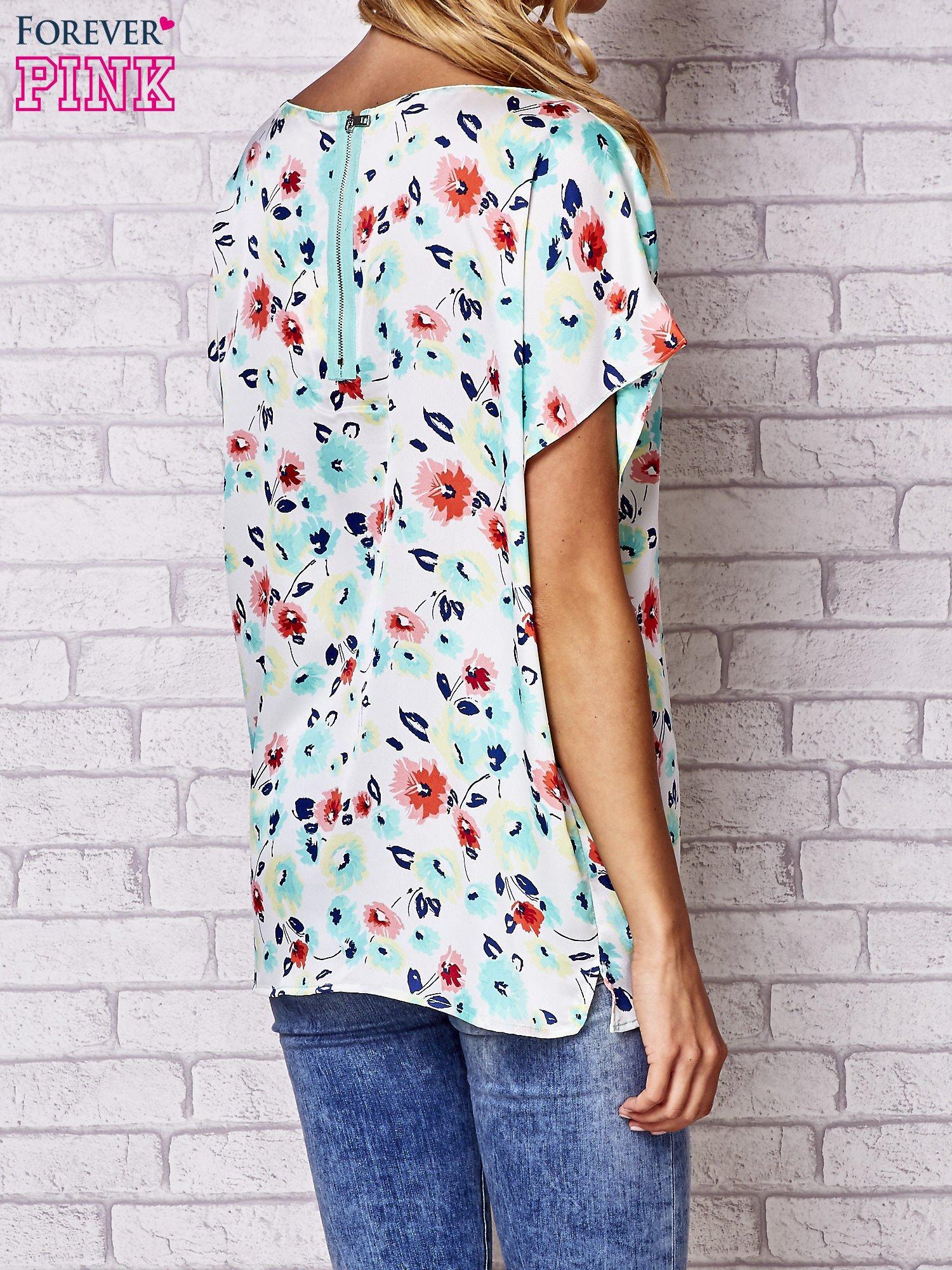 Ecru koszula damska z kwiatowym nadrukiem                                  zdj.                                  3