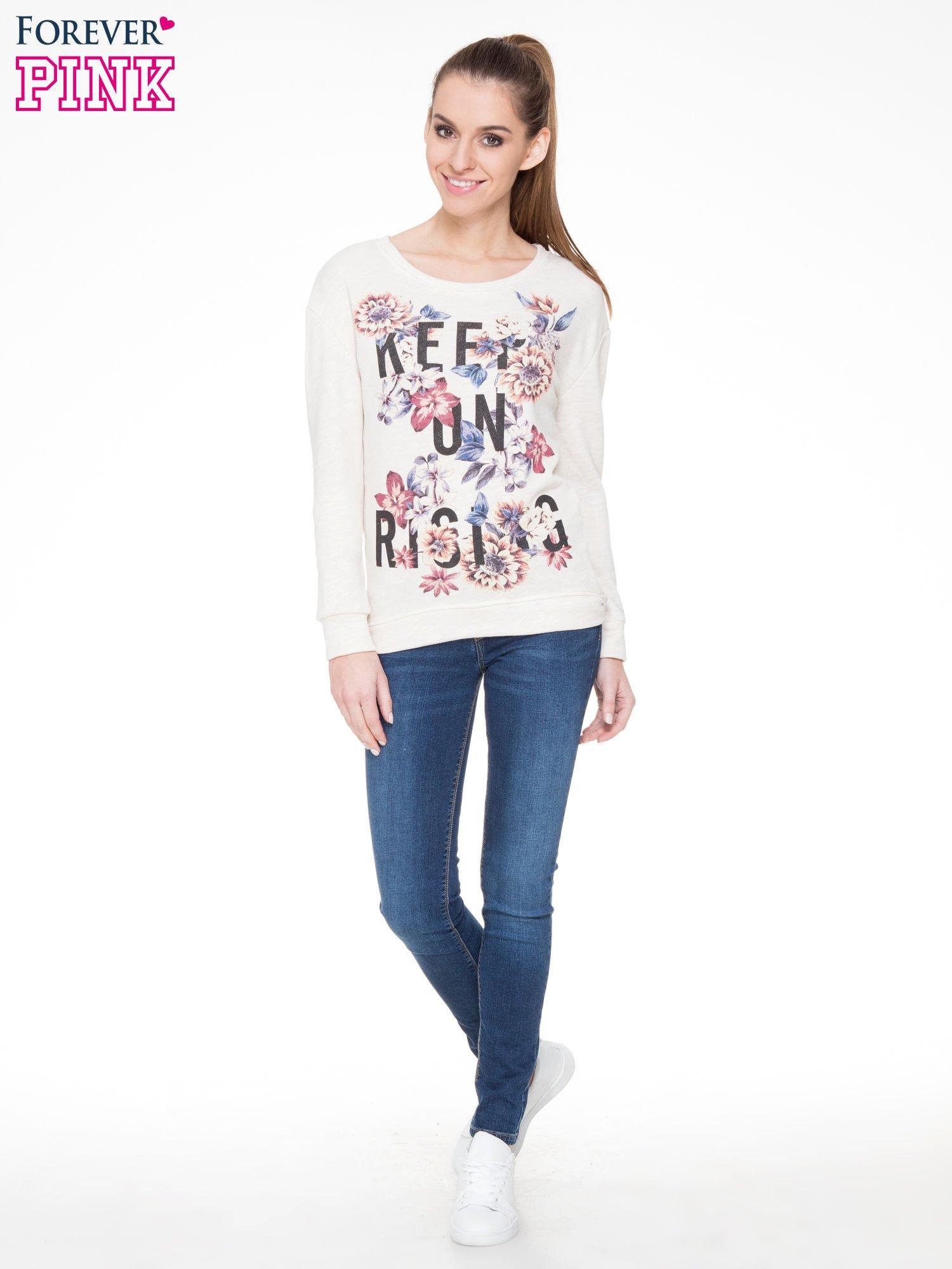 Ecru kwiatowa bluza z napisem KEEP ON RISING                                  zdj.                                  4