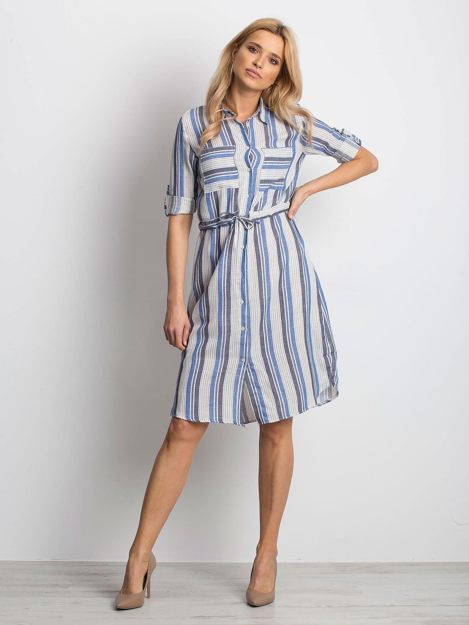 a3a29389 Ecru-niebieska sukienka Versatile