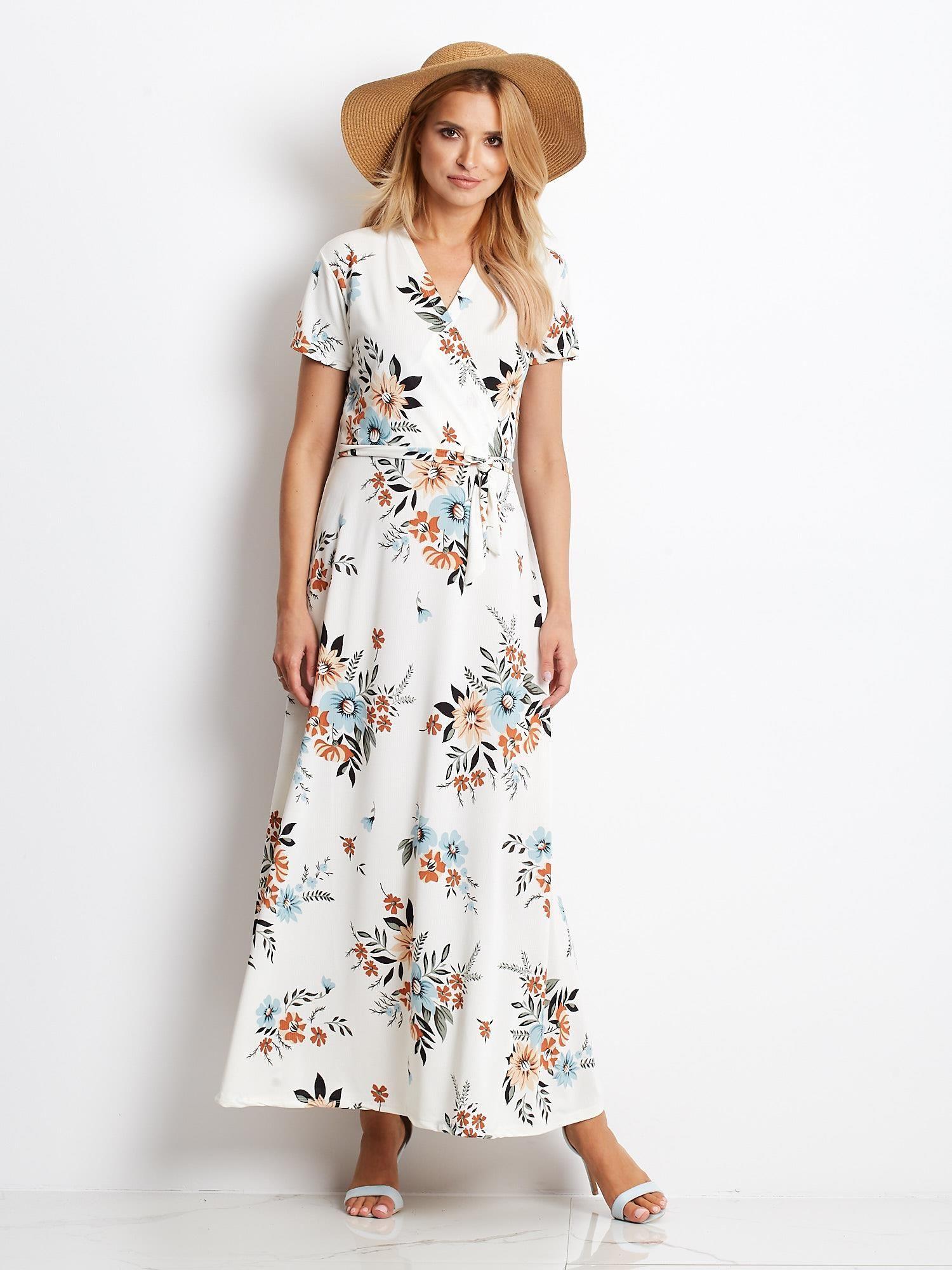 969befa0 Ecru-niebieska sukienka Vintage