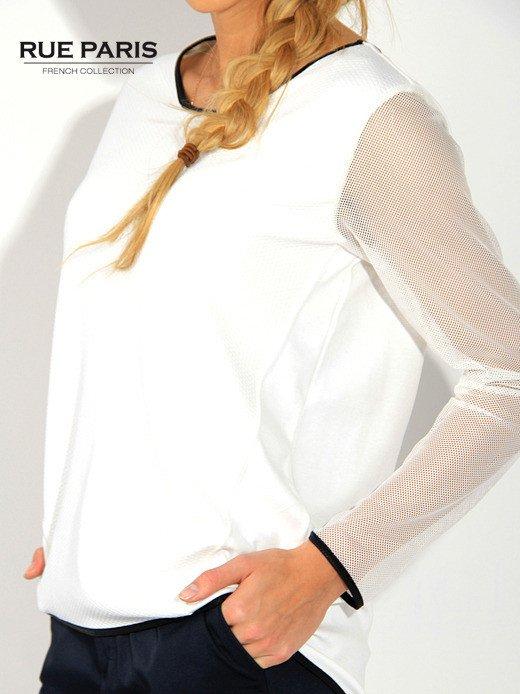 Ecru pikowana bluza z siateczkowymi rękawami                                  zdj.                                  4
