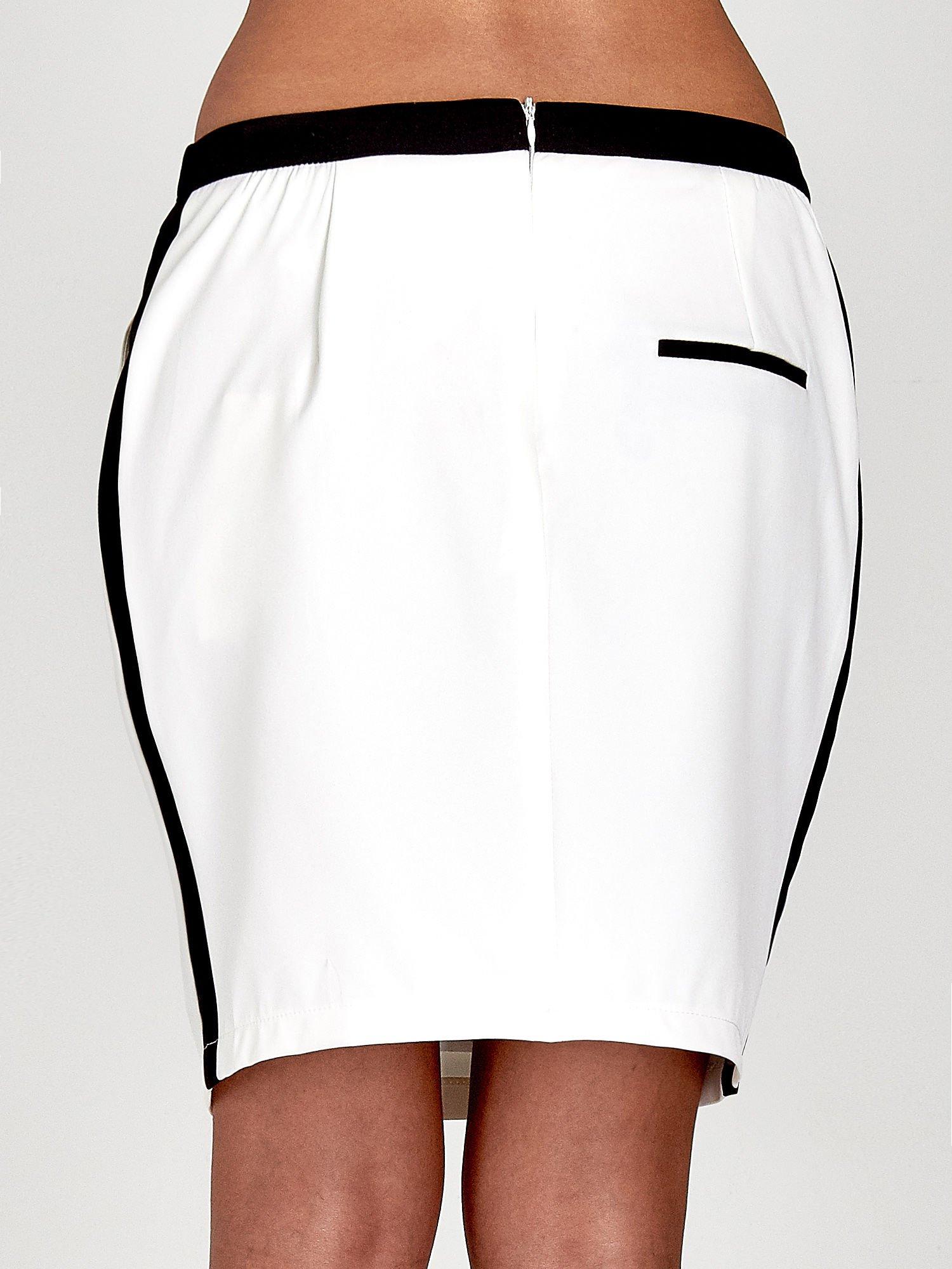 Ecru spódnica two tone z kontrastowymi czarnymi pasami                                  zdj.                                  7