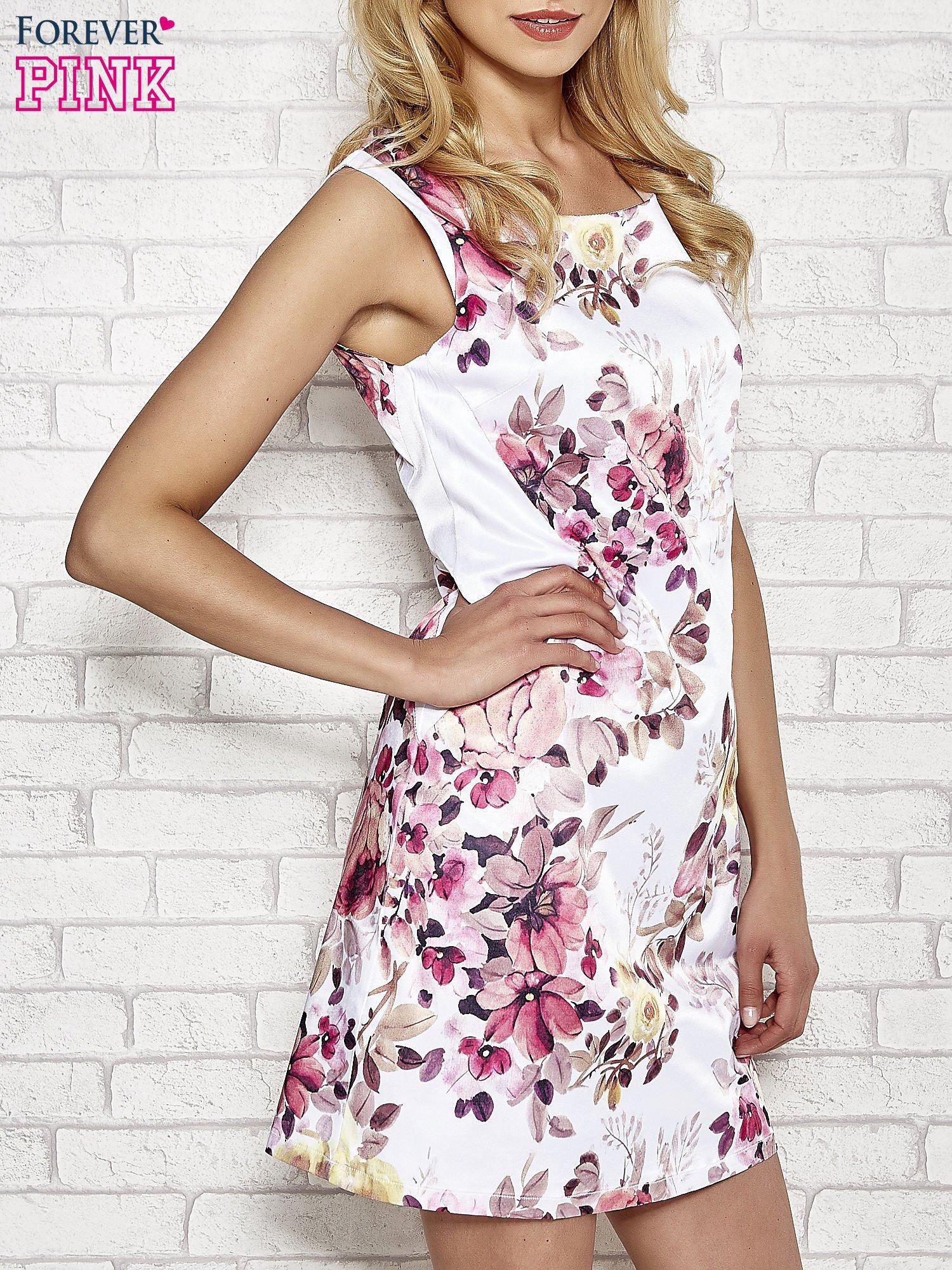 Ecru sukienka w różowe kwiaty                                  zdj.                                  3