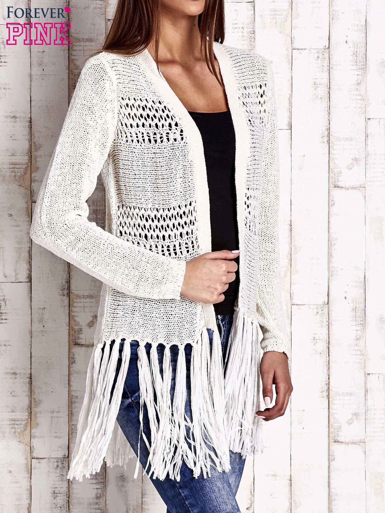 Ecru sweter w stylu boho                                  zdj.                                  3