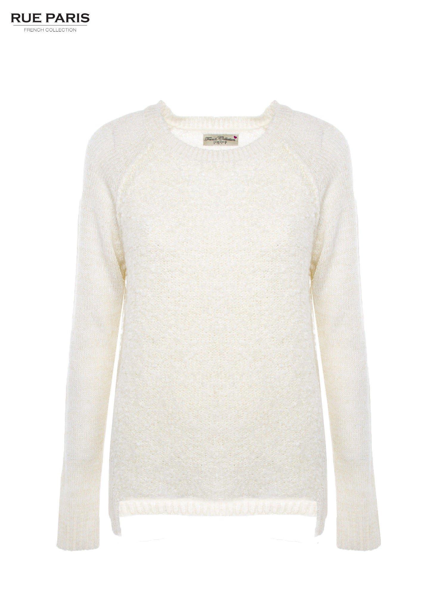 Ecru sweter z dłuższym tyłem                                  zdj.                                  2