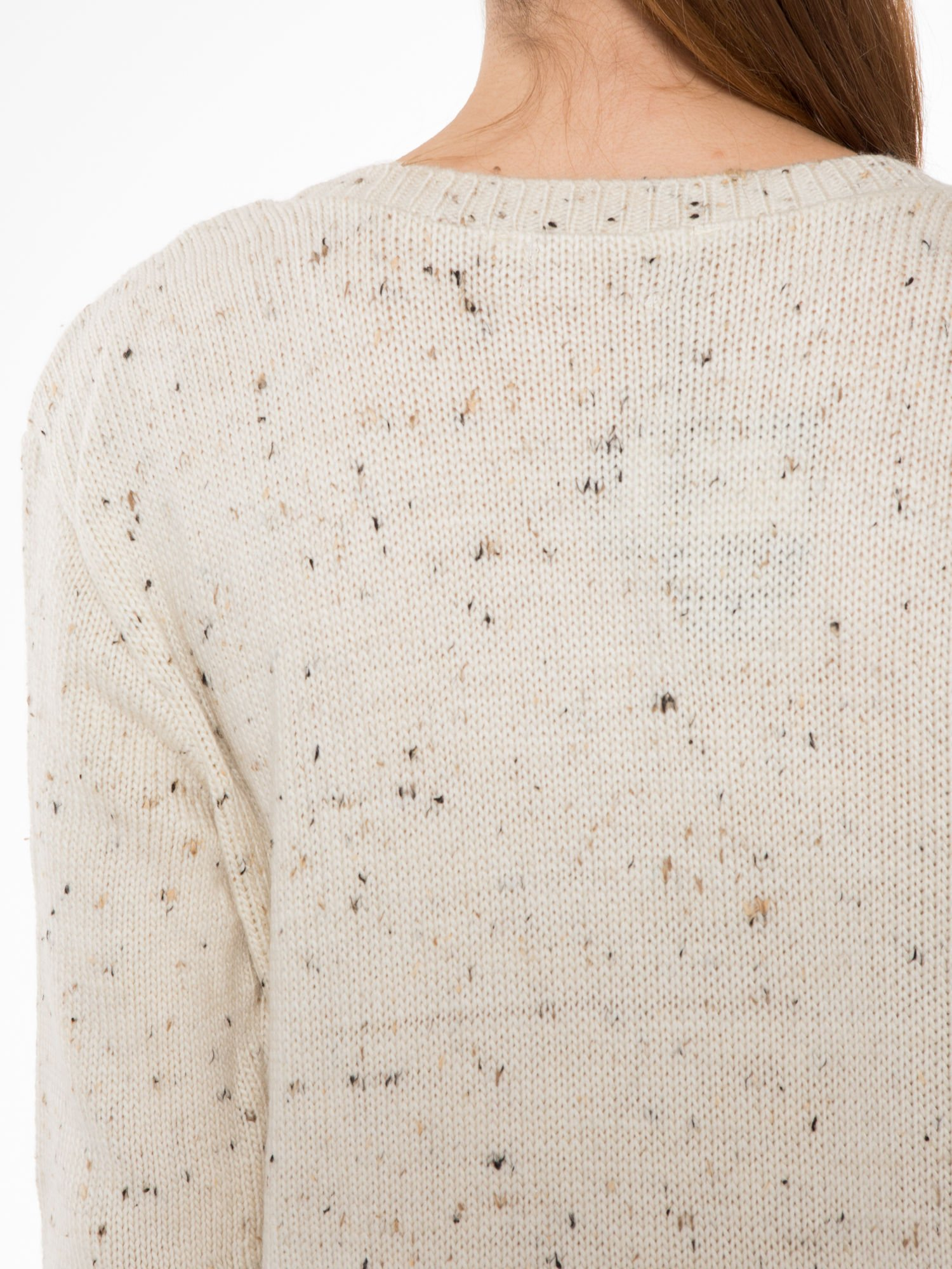 Ecru sweter z nadrukiem kota                                  zdj.                                  7