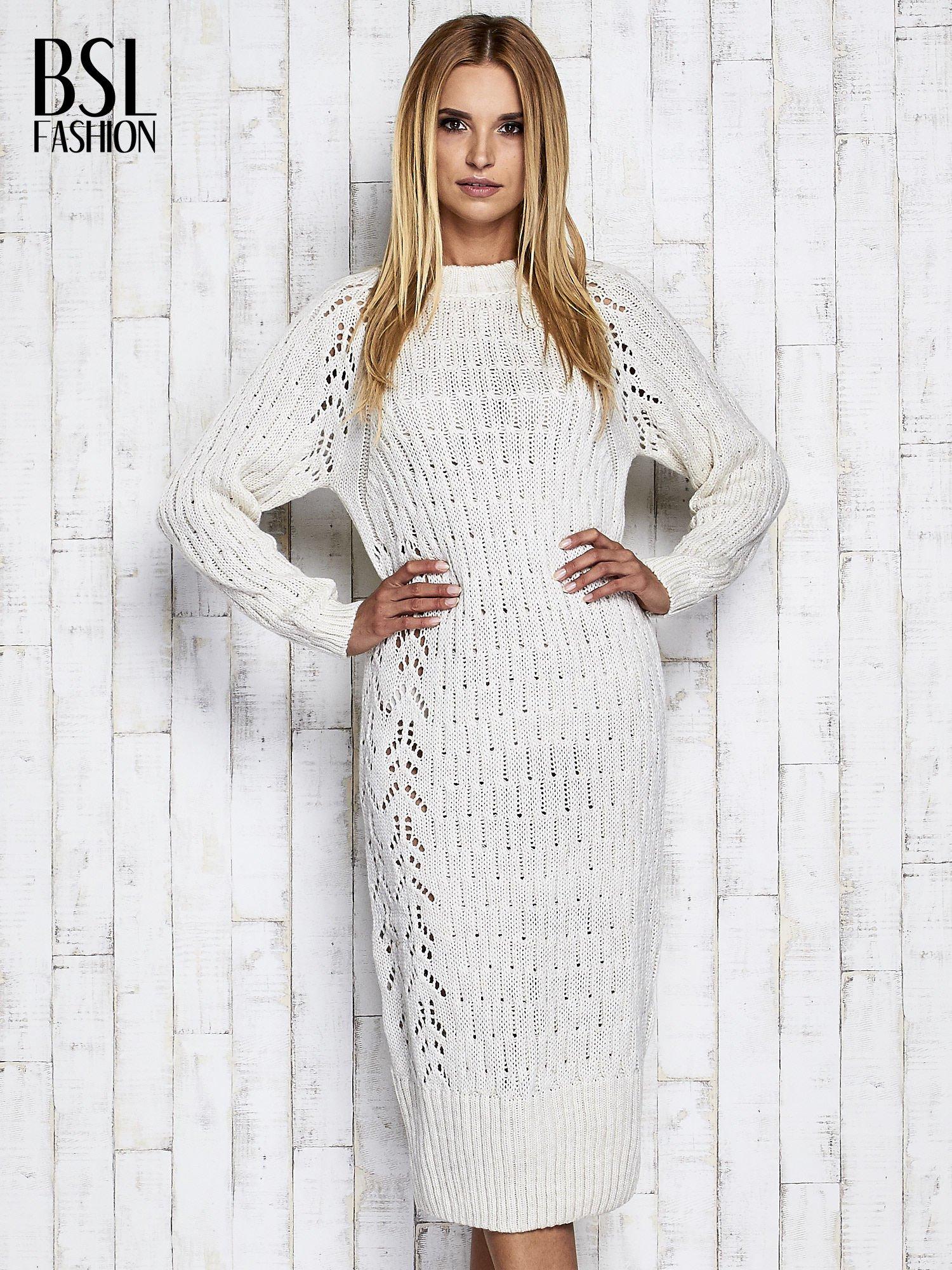 Ecru swetrowa sukienka midi                                  zdj.                                  3