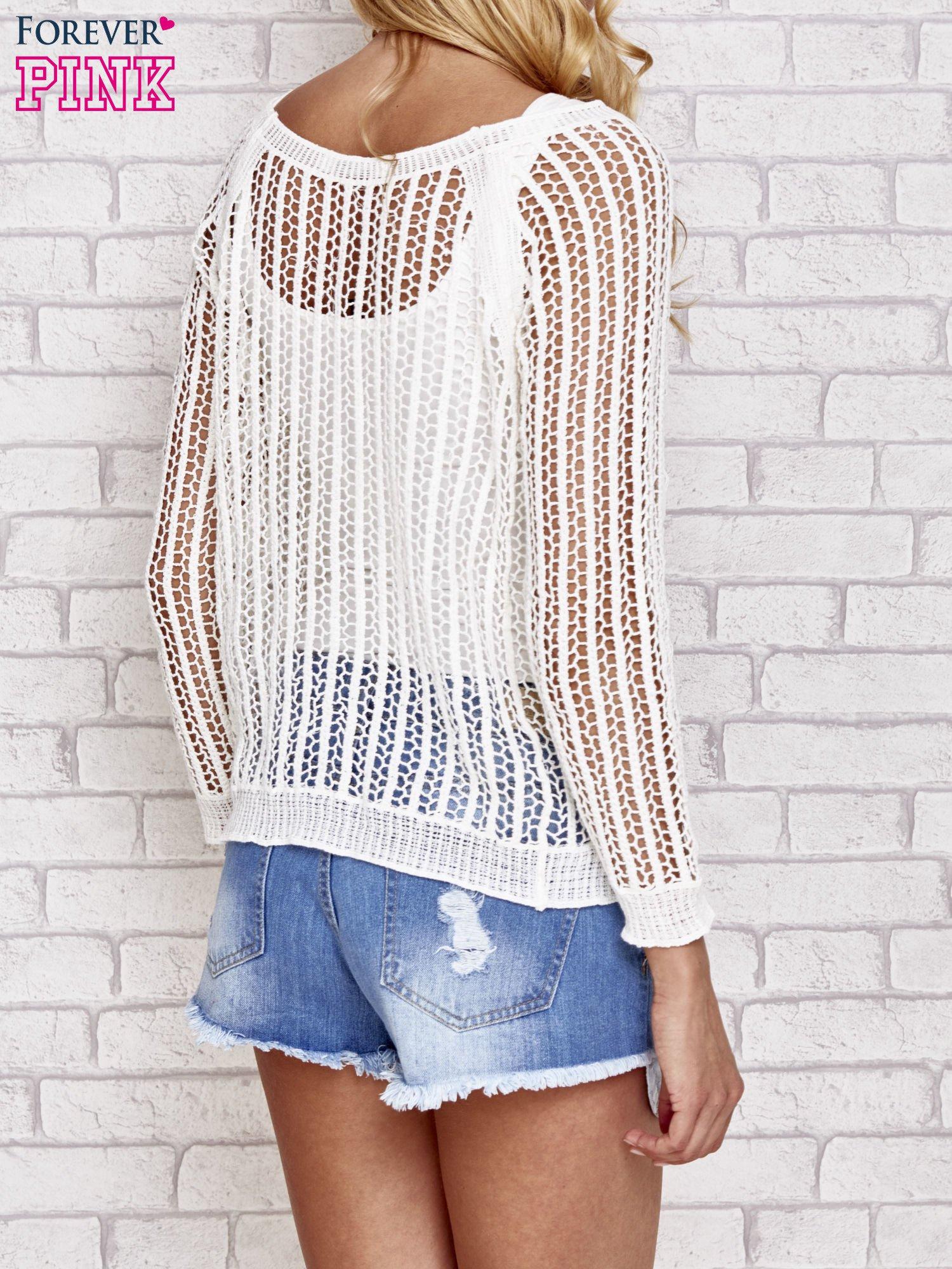 Ecru szydełkowy sweterek                                  zdj.                                  4