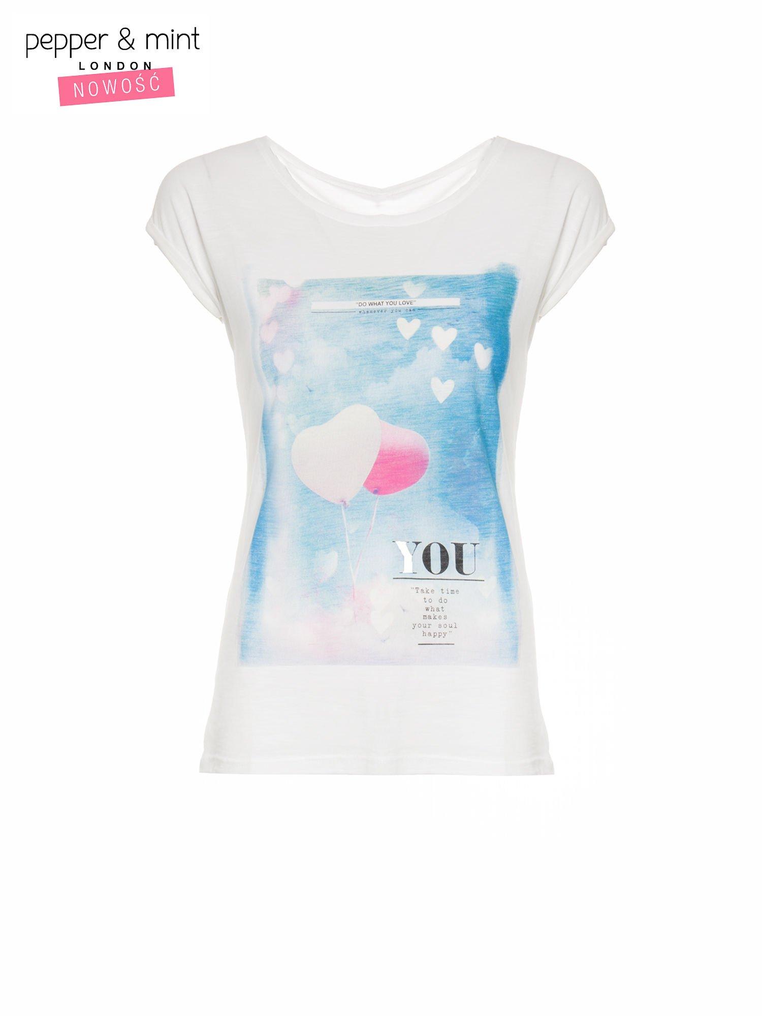 Ecru t-shirt z fotografią balonów                                  zdj.                                  2
