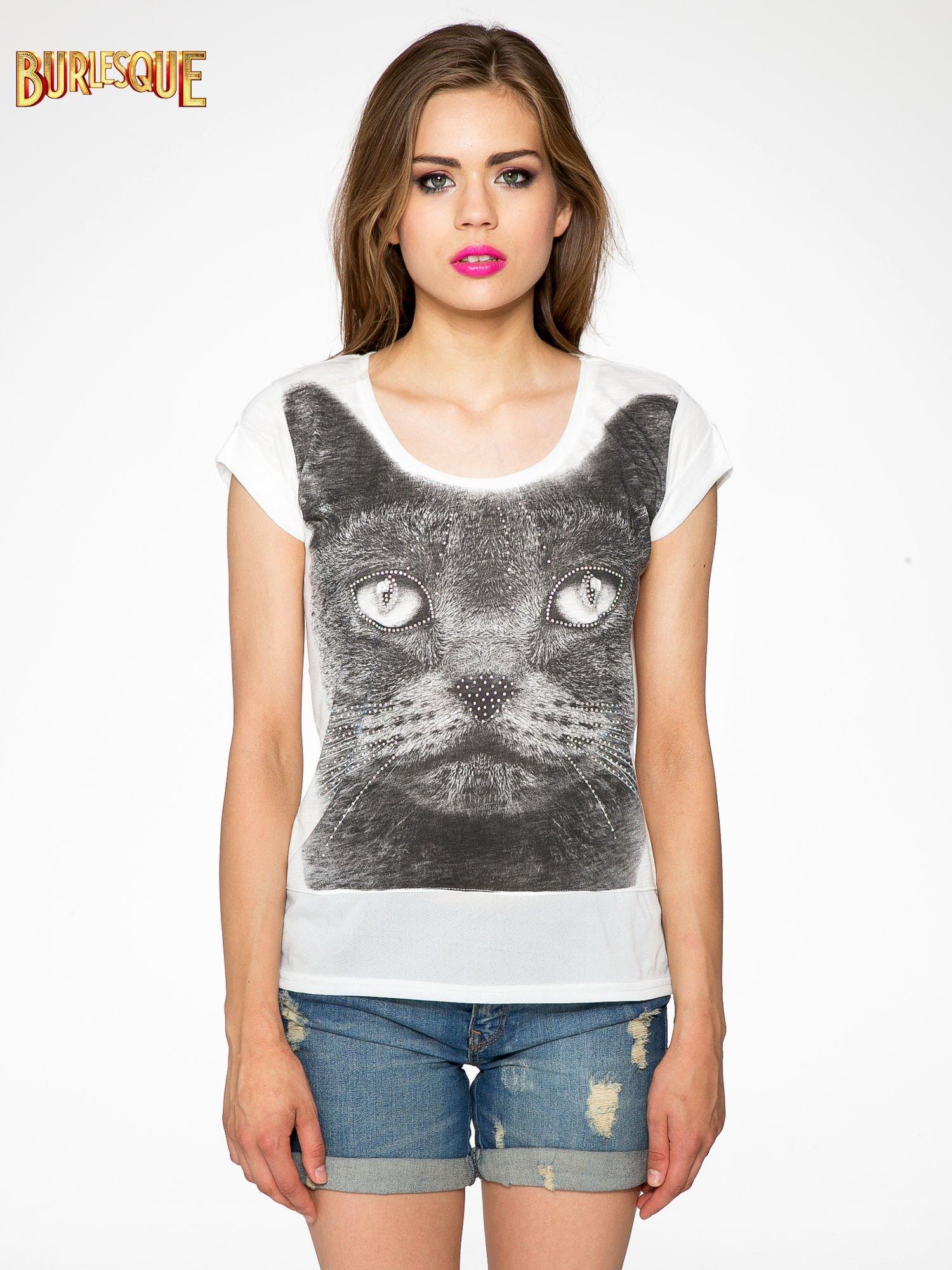 Ecru t-shirt z grafiką kota zdobioną dżetami                                  zdj.                                  11