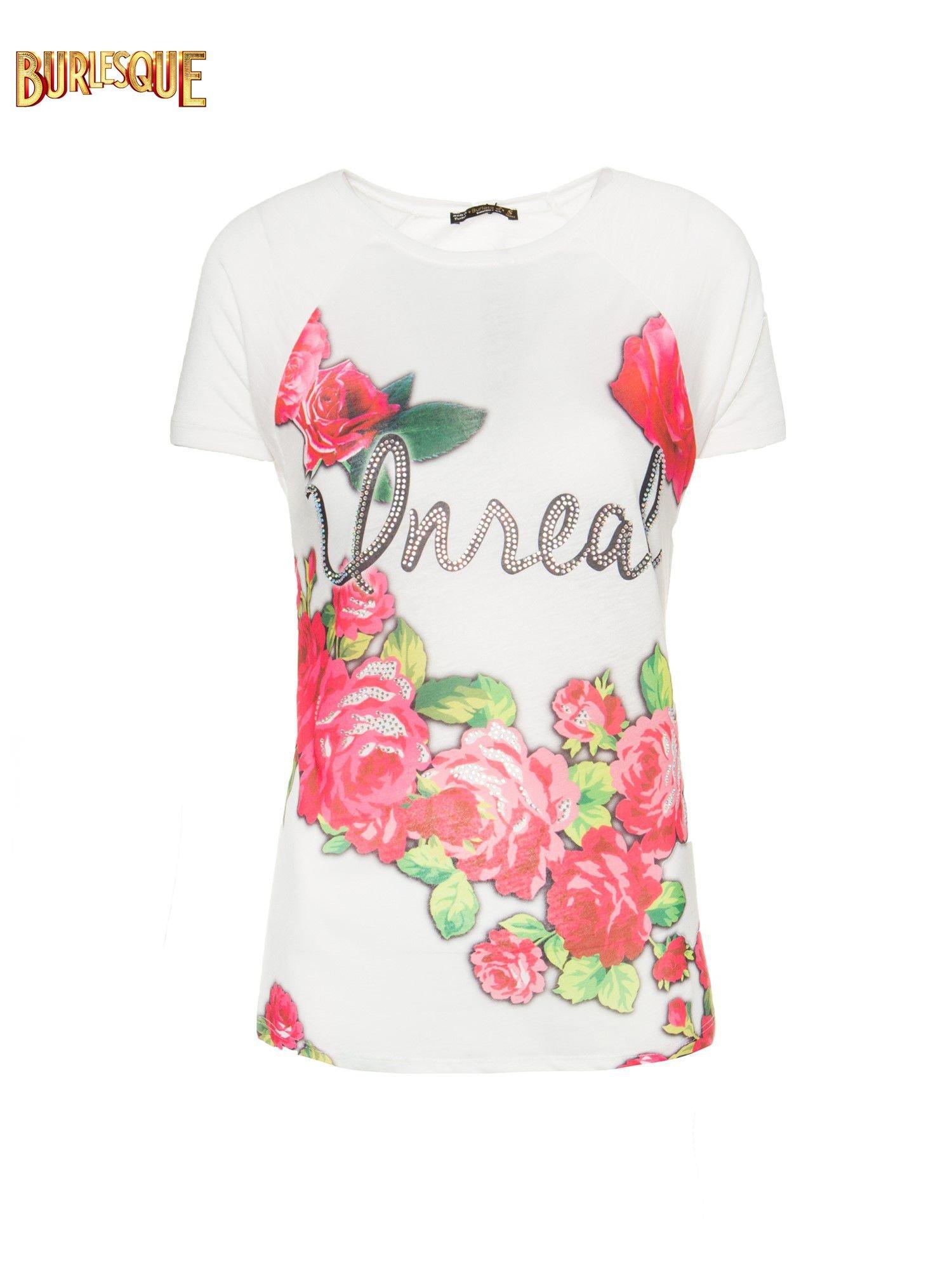 Ecru t-shirt z kwiatowym nadrukiem i napisem UNREAL                                  zdj.                                  7