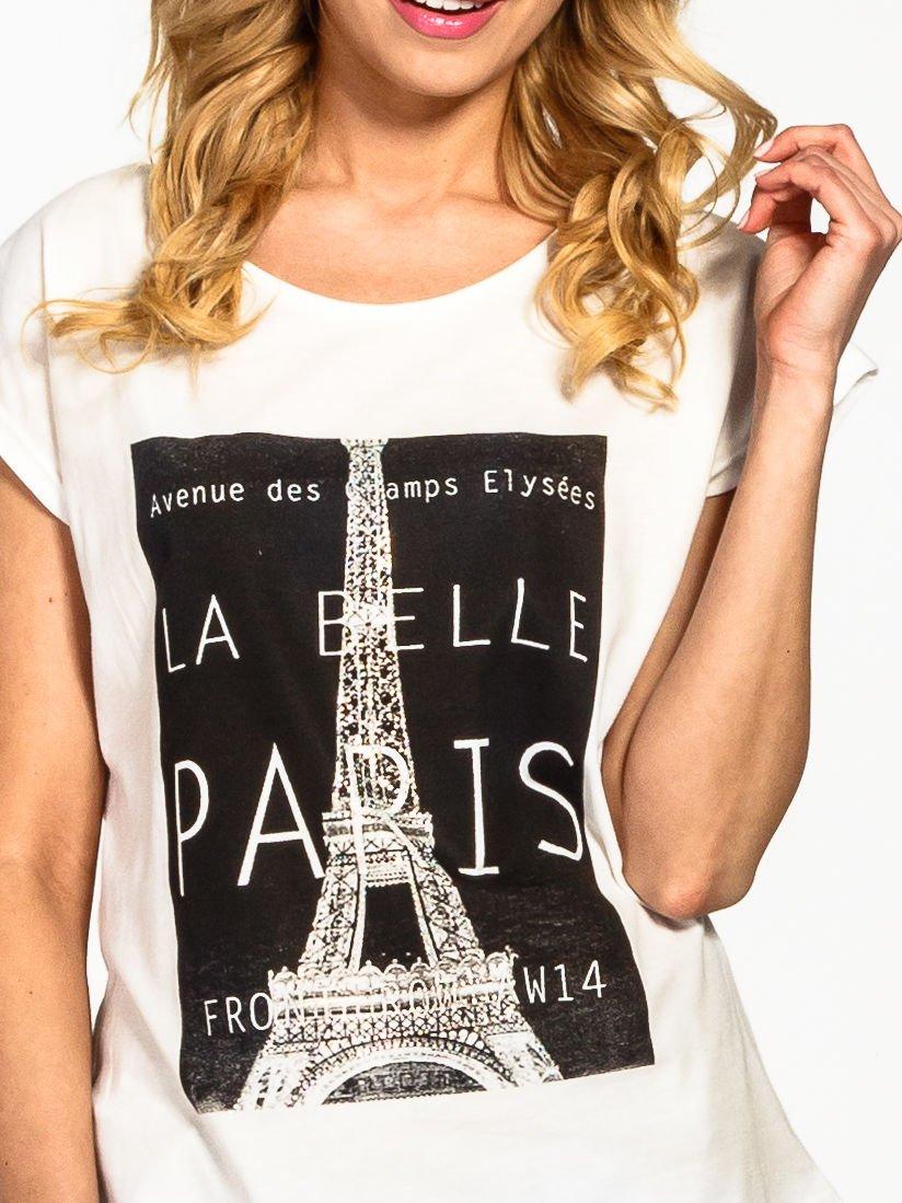 Ecru t-shirt z motywem Paryża                                  zdj.                                  5