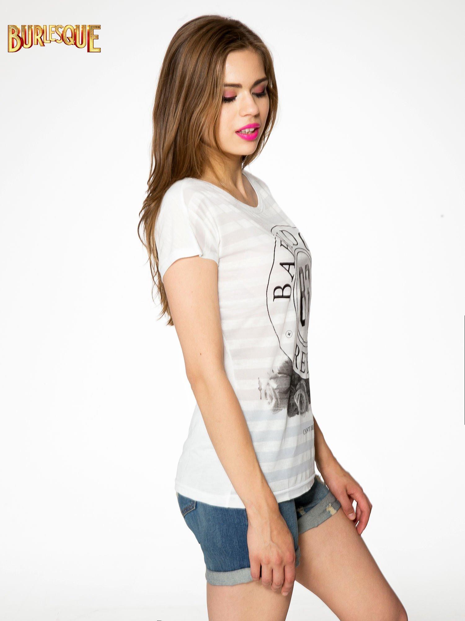 Ecru t-shirt z nadrukiem BABYDOLL REBEL 83                                  zdj.                                  3