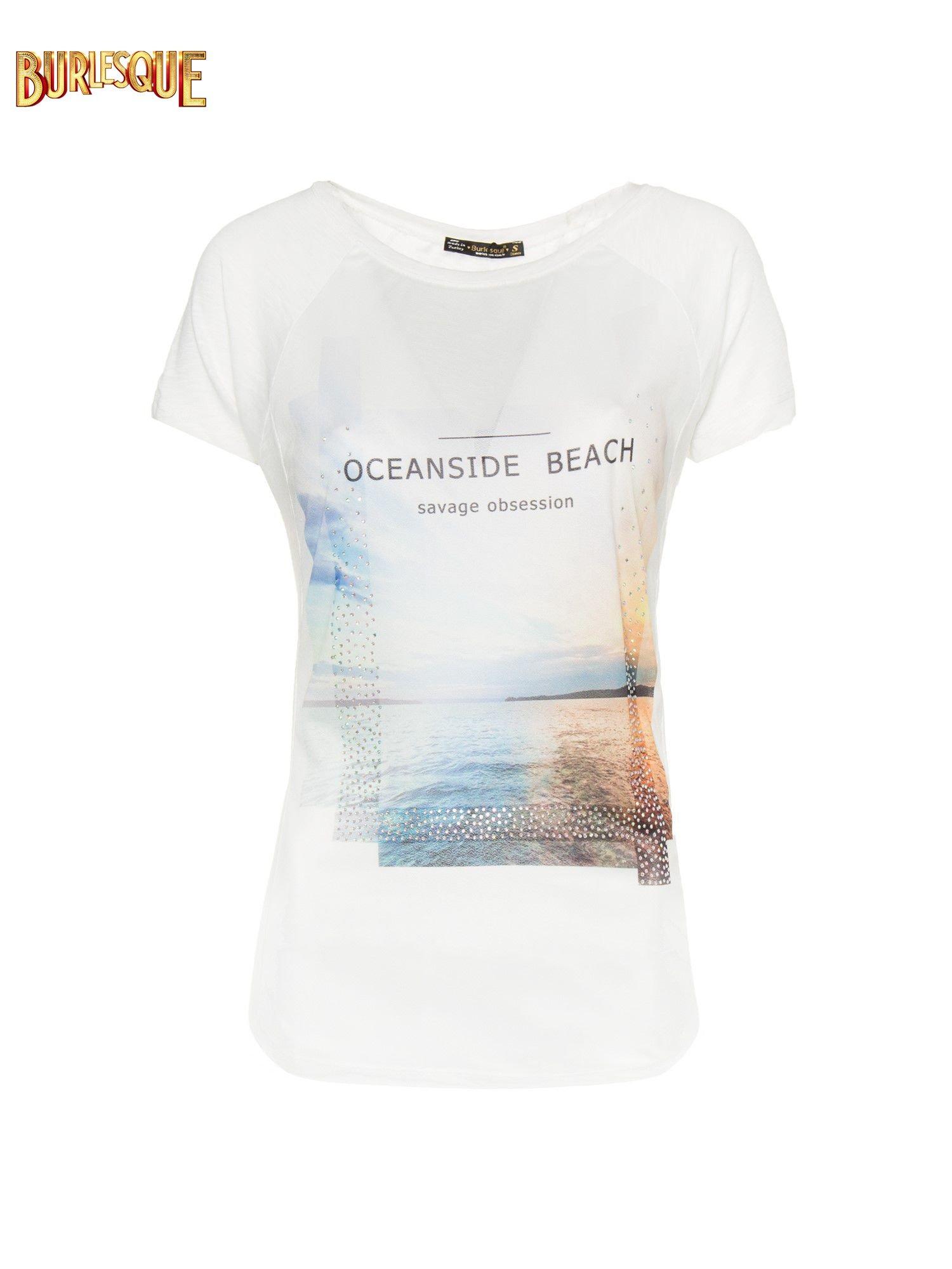 Ecru t-shirt z nadrukiem OCEANSIDE BEACH                                  zdj.                                  8