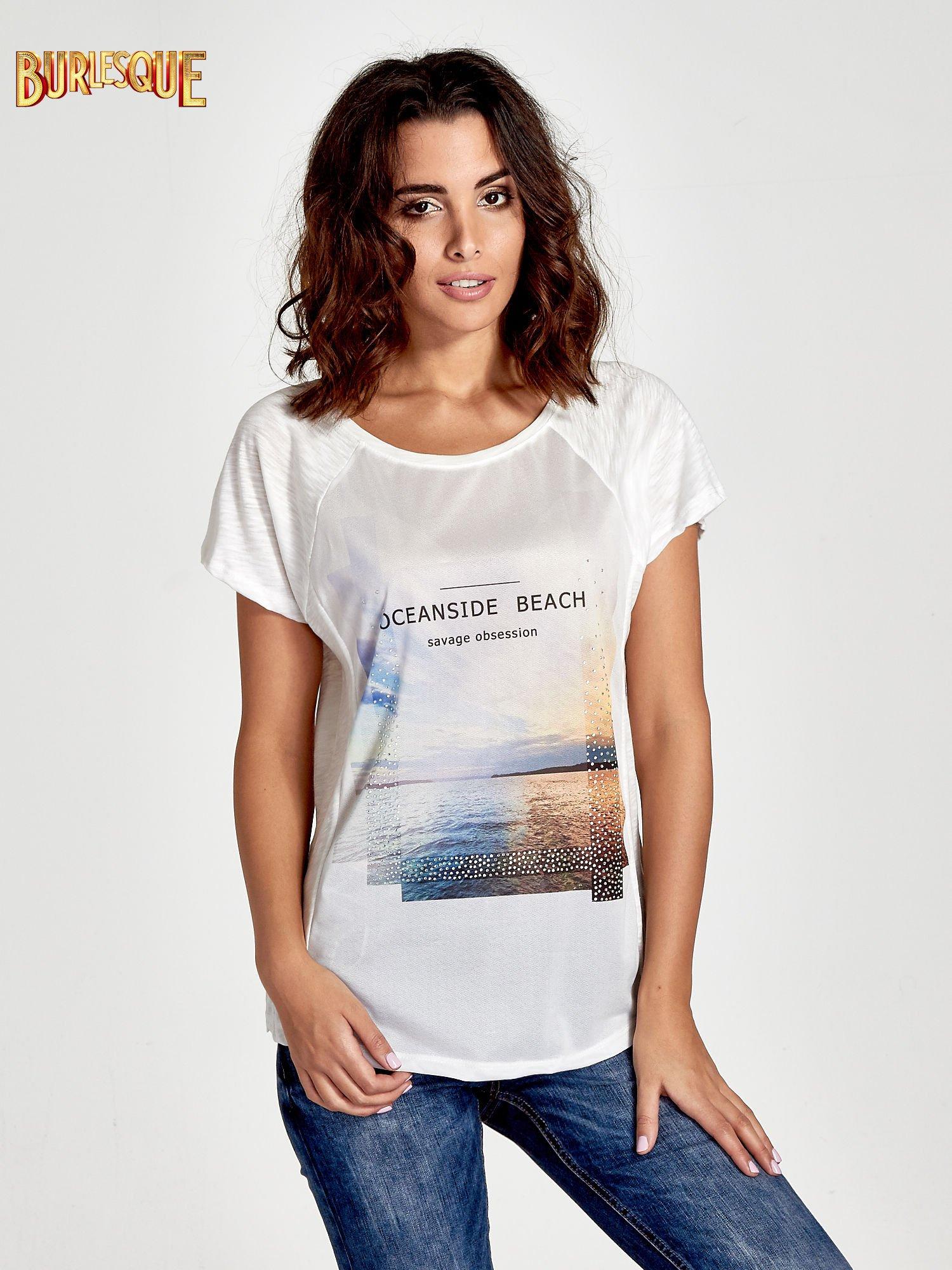 Ecru t-shirt z nadrukiem OCEANSIDE BEACH                                  zdj.                                  1