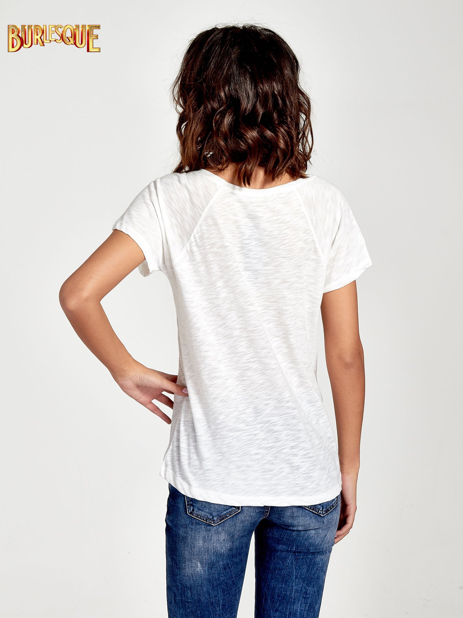 Ecru t-shirt z nadrukiem OCEANSIDE BEACH                                  zdj.                                  4