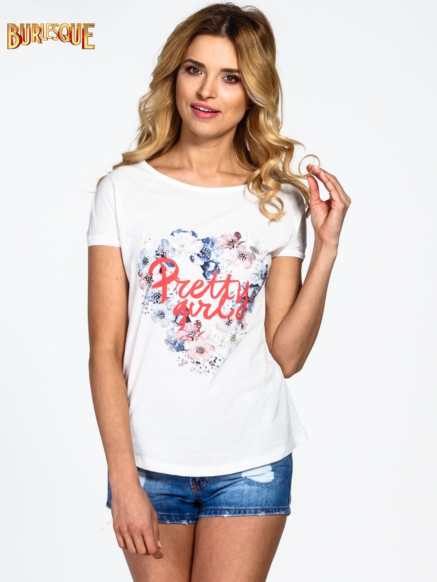 Ecru t-shirt z nadrukiem kwiatowym PRETTY GIRL                                  zdj.                                  1