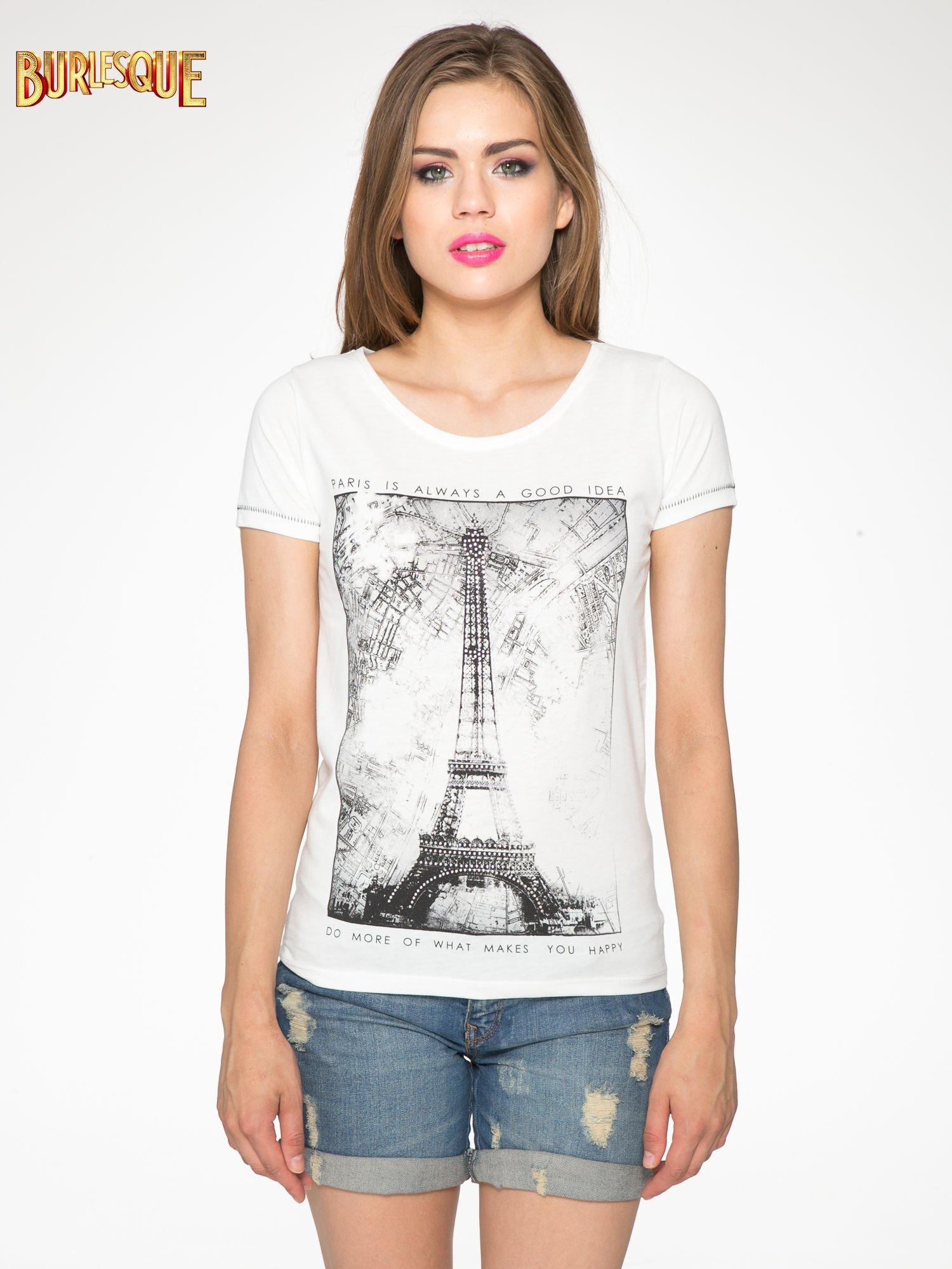 Ecru t-shirt z nadrukiem wieży Eiffla                                  zdj.                                  12