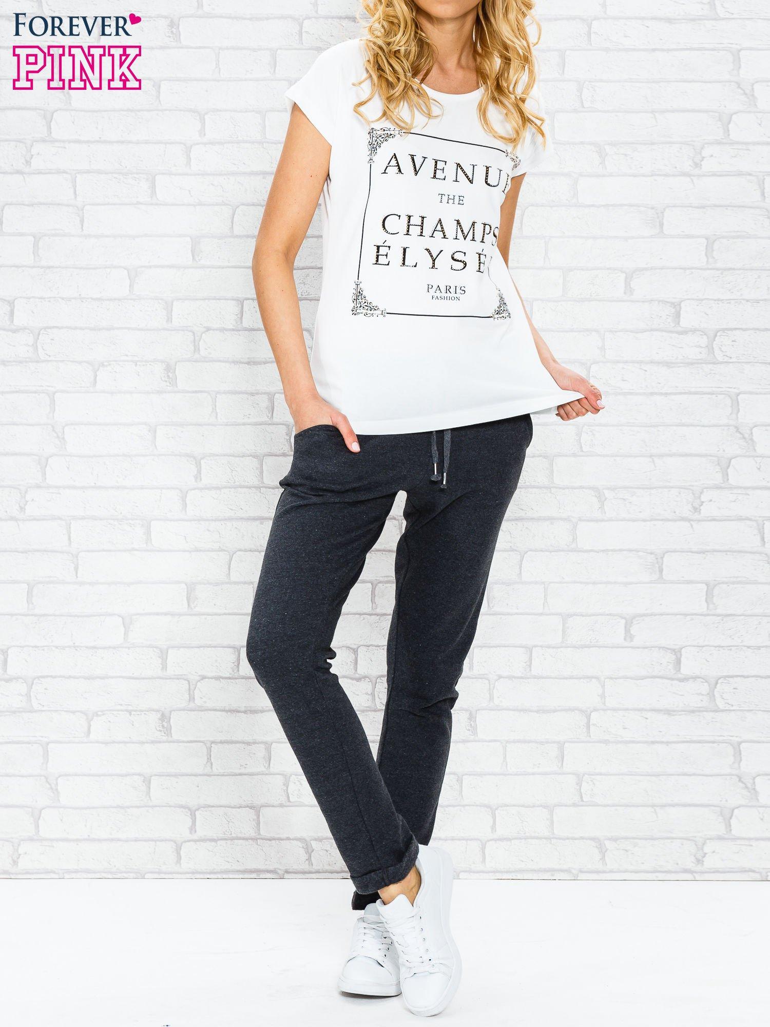 Ecru t-shirt z napisem AVENUE THE CHAMPS ÉLYSÉE                                  zdj.                                  4