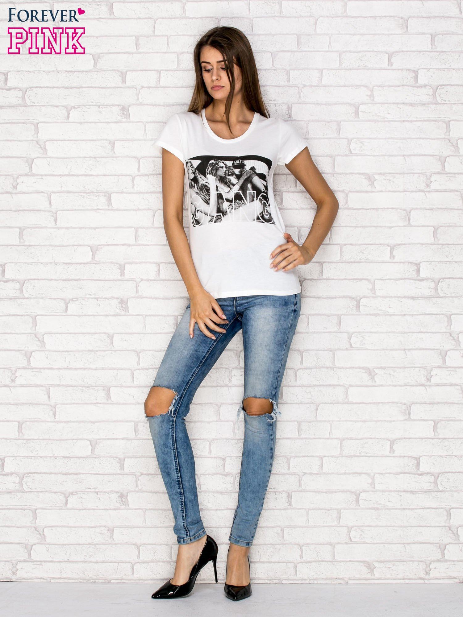 Ecru t-shirt z napisem GANG                                  zdj.                                  4