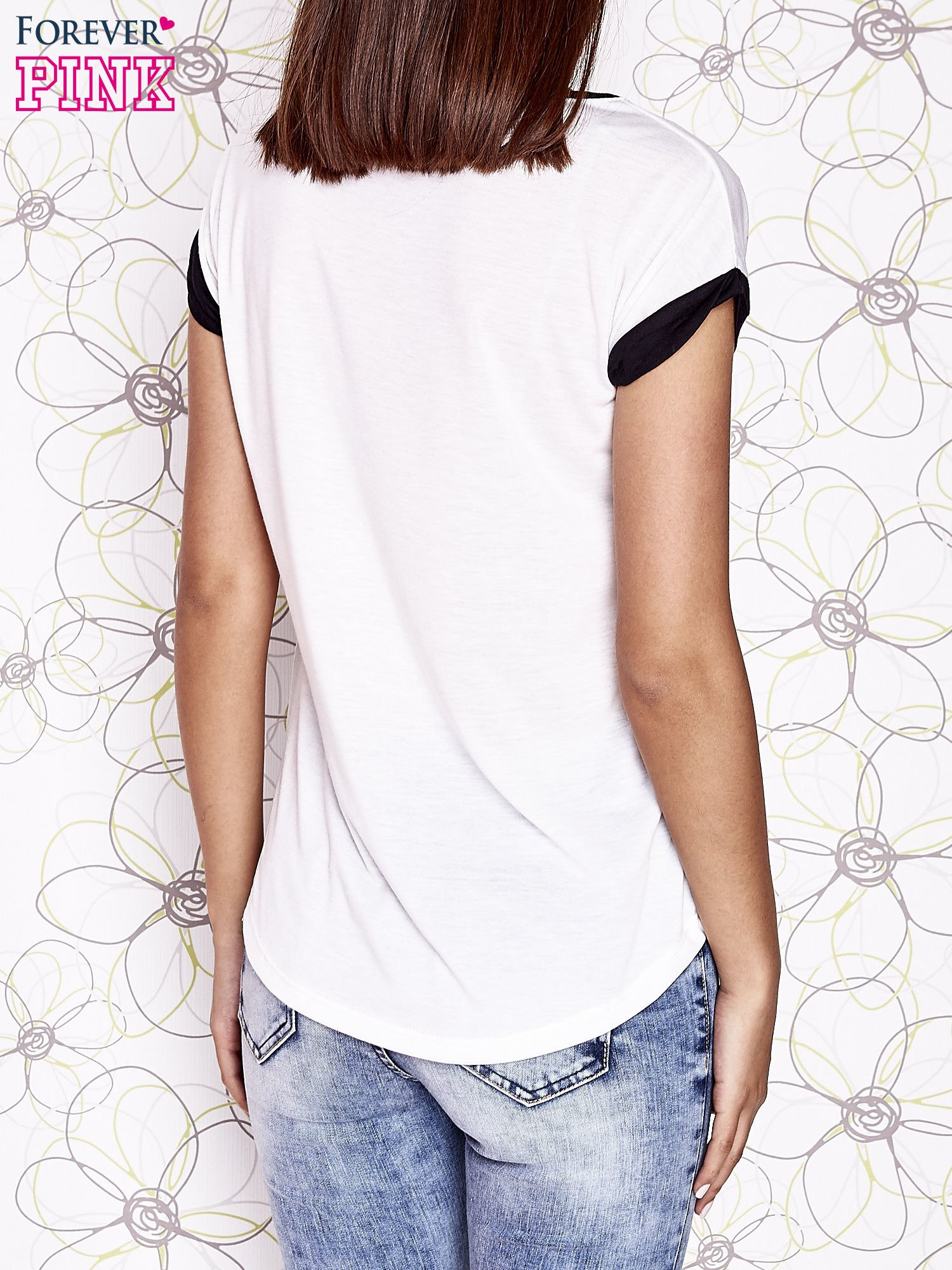 Ecru t-shirt z napisem ONLY LOVE IS FOR FREE                                  zdj.                                  2