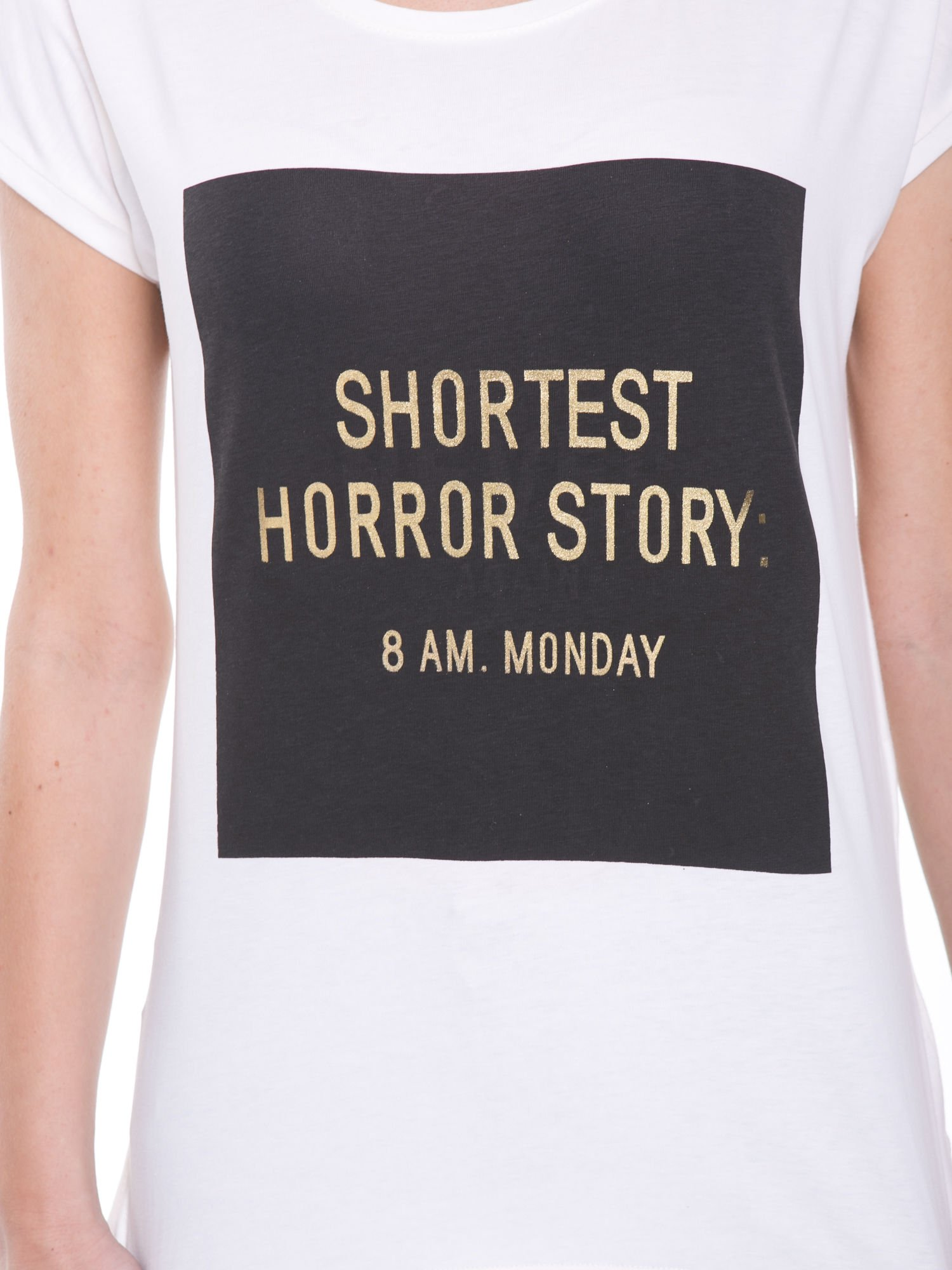 Ecru t-shirt z zabawnym nadrukiem SHORTEST HORROR STORY 8 AM. MONDAY                                  zdj.                                  6