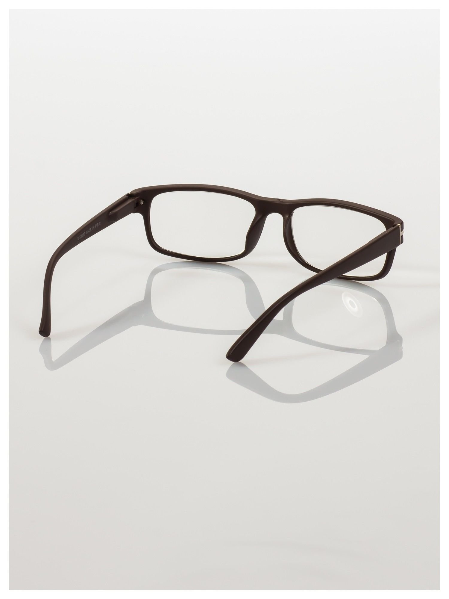 Eleganckie brązowe matowe korekcyjne okulary do czytania +2.0 D  z sytemem FLEX na zausznikach                                  zdj.                                  4