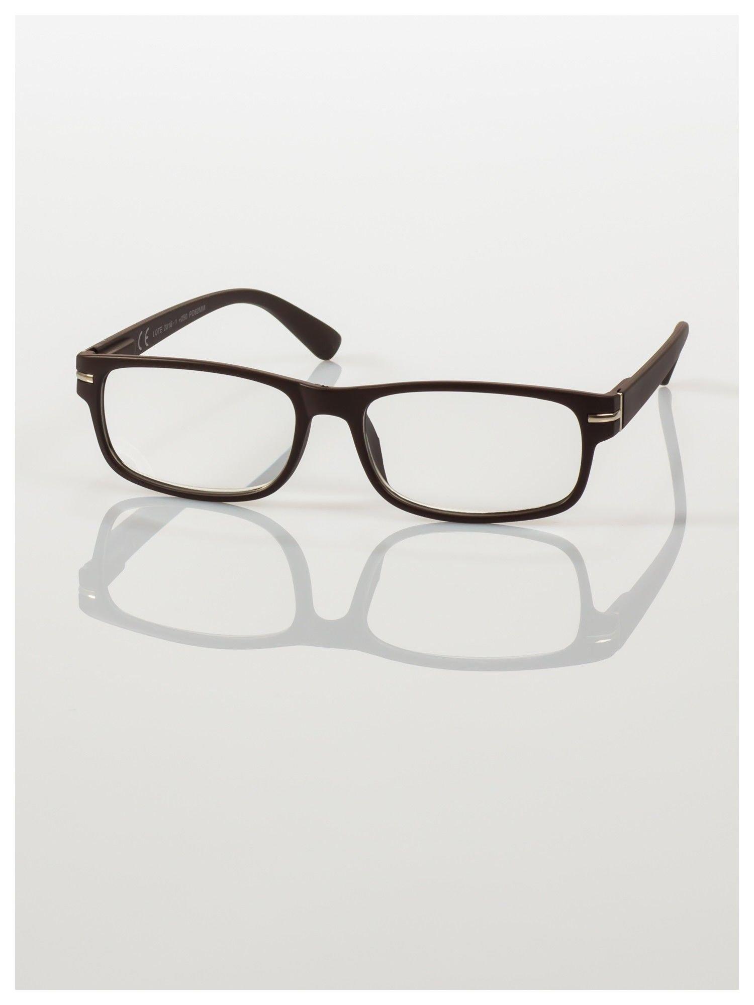 Eleganckie brązowe matowe korekcyjne okulary do czytania +4.0 D  z sytemem FLEX na zausznikach                                  zdj.                                  2